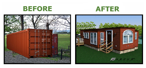 Kottage RV shipping container - before & after