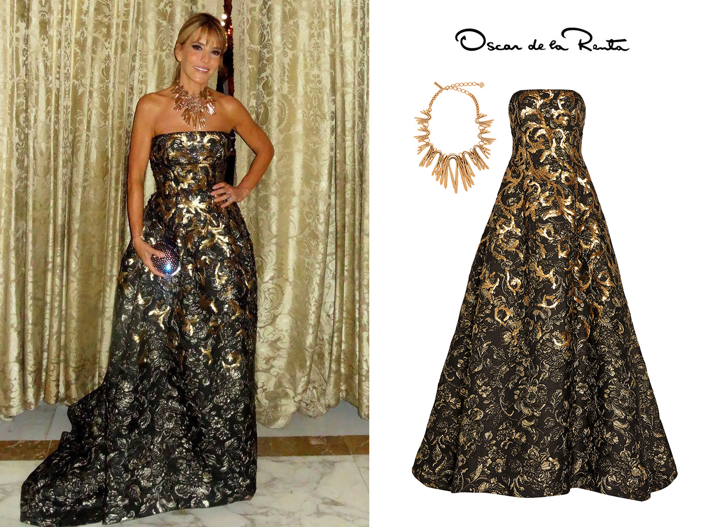 Patricia-della-Giovampaola-Darenberg-Fundaleu-2015-Oscar-de-la-renta-Brown-Golden-Embroidered-Dress.jpg
