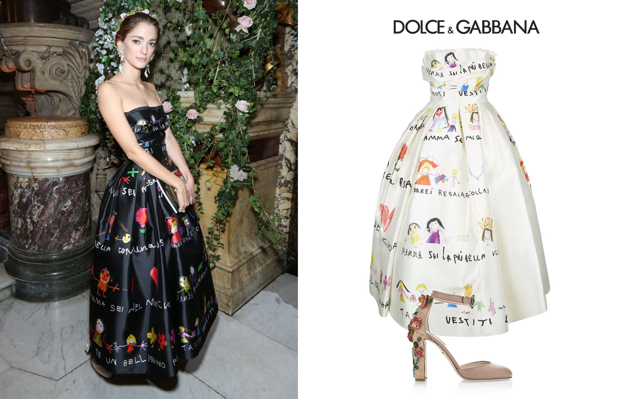 Sofia Sanchez de Betak Ballet Gala Paris Dolce Gabbana Drawing Print Dress