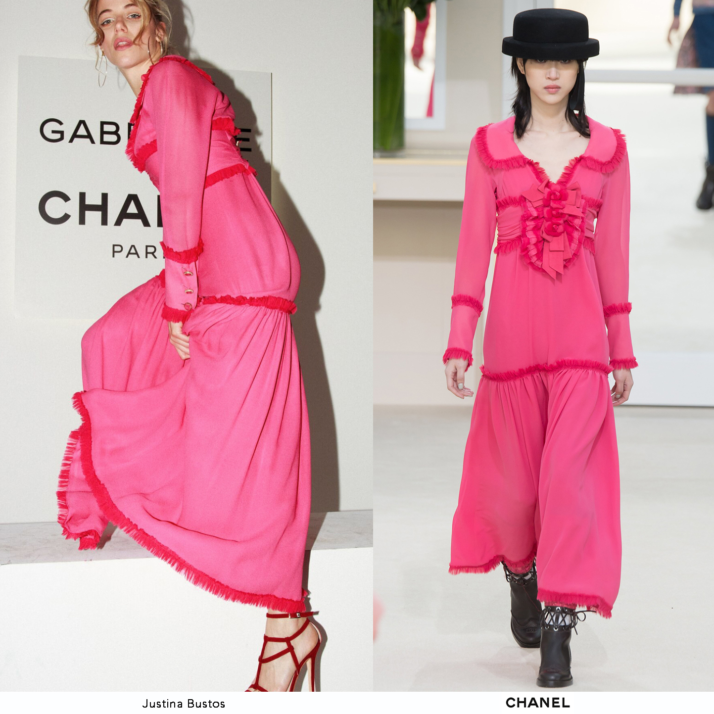 Justina_Bustos_Chanel_Party_Argentina_Fucsia_Long_Sleeve_Dress_Chanel_Fall_2016_Invierno_Looks.jpg