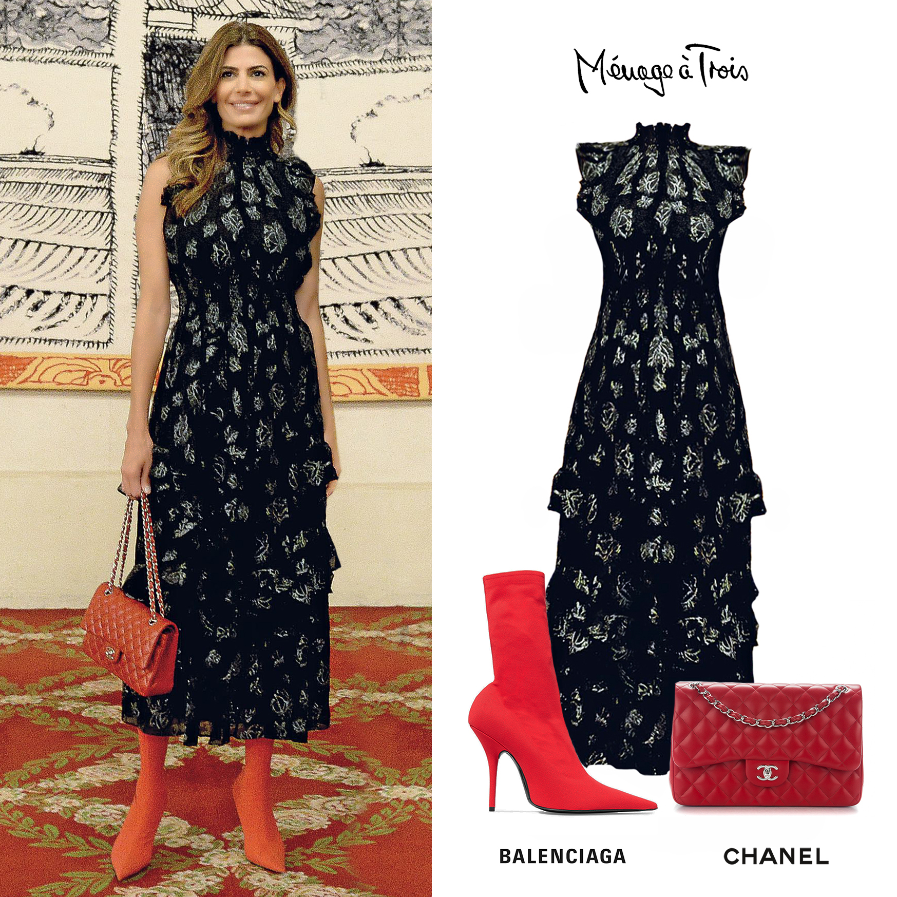 Juliana_Awada_Looks_Paris_2018_Sleeveless_Printed_Dress_Vestido_Estampado_Menage_a_trois_Botas_Rojas_Balenciaga_Over_The_Knee_Boots_Red_Cartera_255_chanel_Bag.jpg