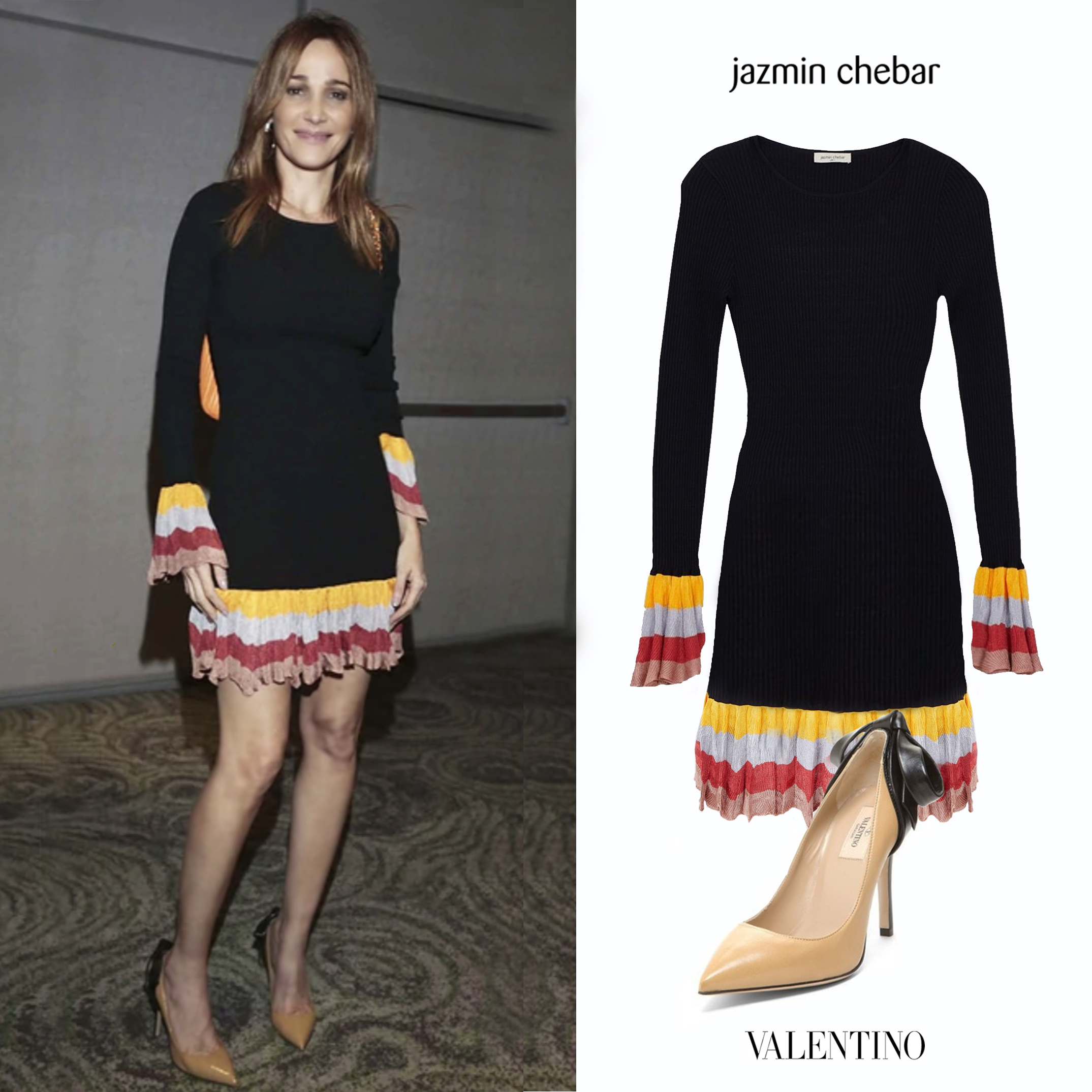Vero_Veronica_Lozano_Martin_Fierro_Diplomas_Vestido_Negro_Colores_Cuba_Jazmin_Chebar_Invierno_2018_Dress_Black_Zapatos_Valentino_Beige_Brown_Black_Row_Back_Pumps_Zapatos_Monio_Negro_Marron.jpg