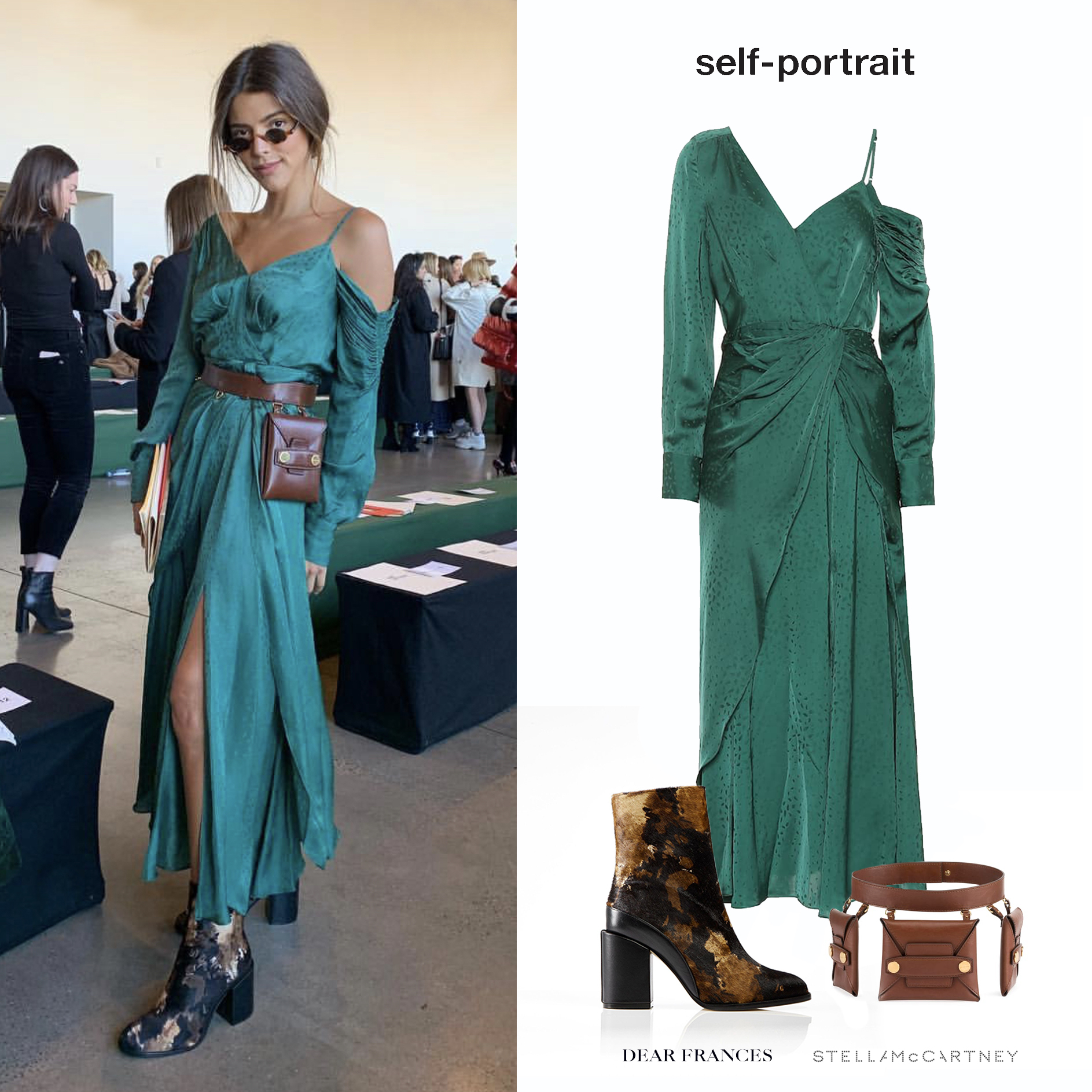 Calu_Rivero_Self_Portrait_Fall_2019_Show_New_York_Vestido_Verde_Aymetric_Green_Dress_Botas_Dear_Frances_Pony_Spirit_Boot_Stella_McCartney_Trio_Belt_Bag.jpg