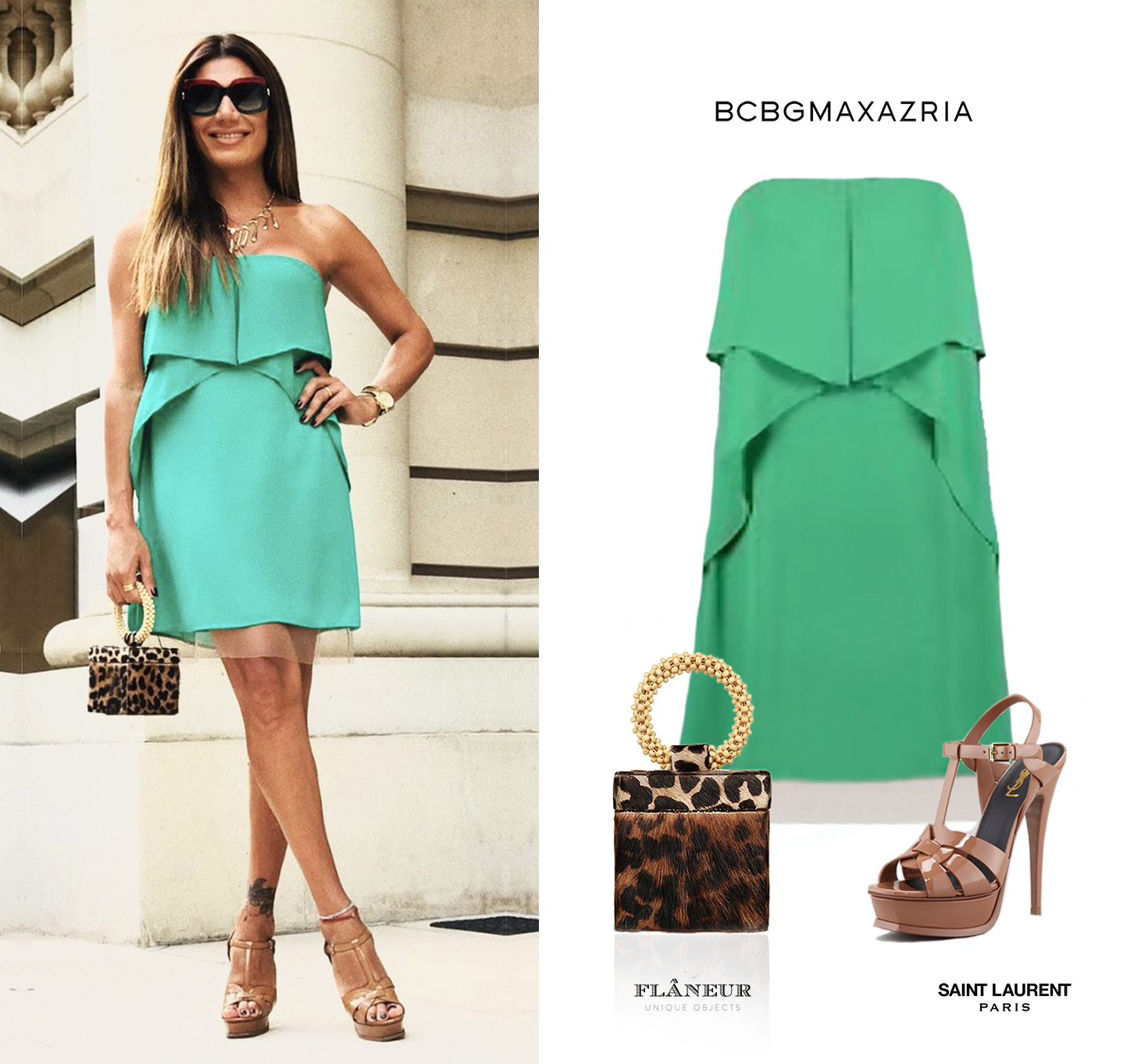 Flor_Florencia_de_la_ve_v_Vestido_Fei_Fei_Green_BCBG_Max_Azria_Strapless_Dress_YSL_Saint_Laurent_Tribute_Sandals_Brown_Nude_Caramel_Flaneur_Leopard_Print_Clutch_Bag_Box.jpg