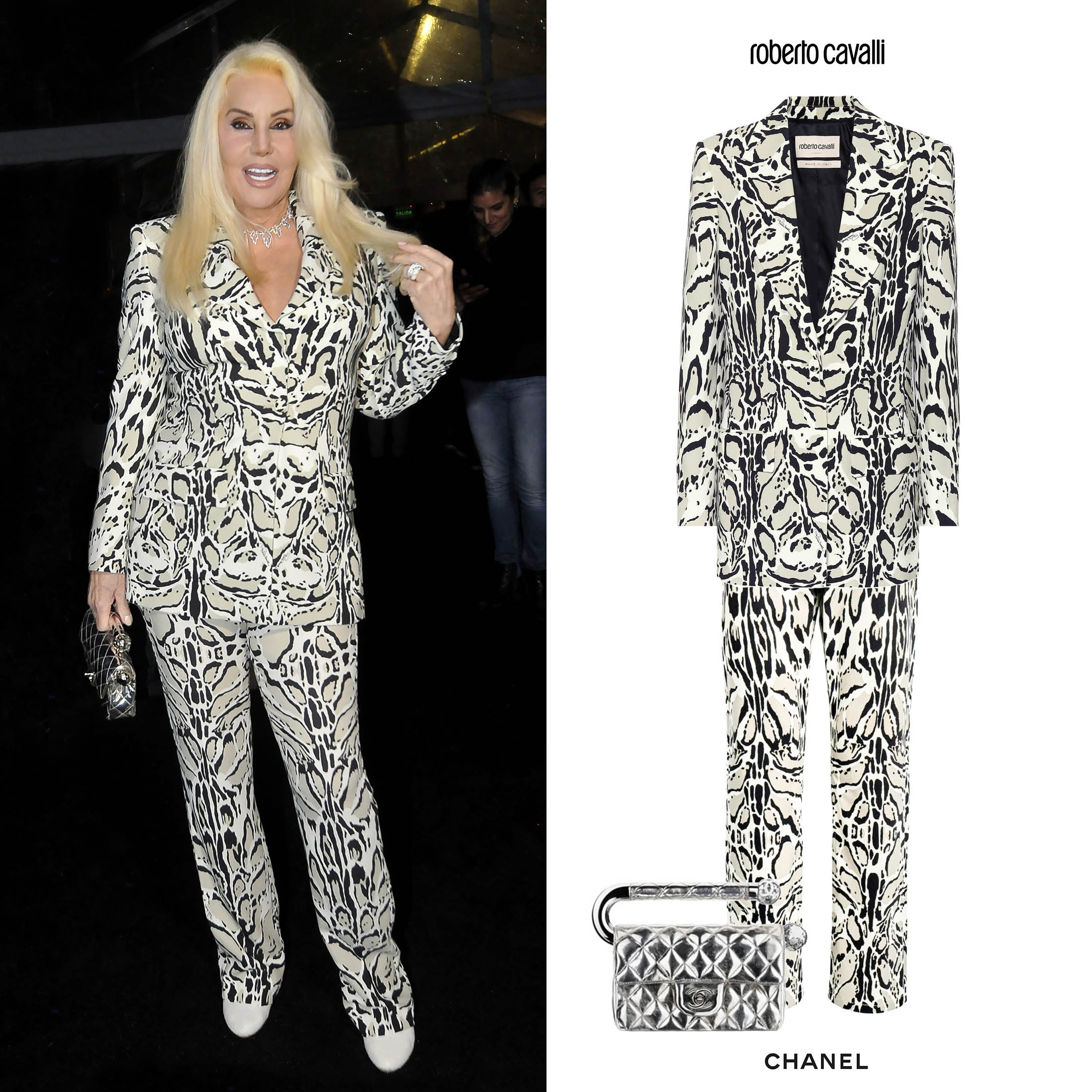 Susana_Gimenez_Samsung_Blazer_Pant_Pantalon_Roberto_Cavalli_Crepe_Estampado_ANimal_Print_Chanel_Flap_Mirror_Handle_Bag0.jpg