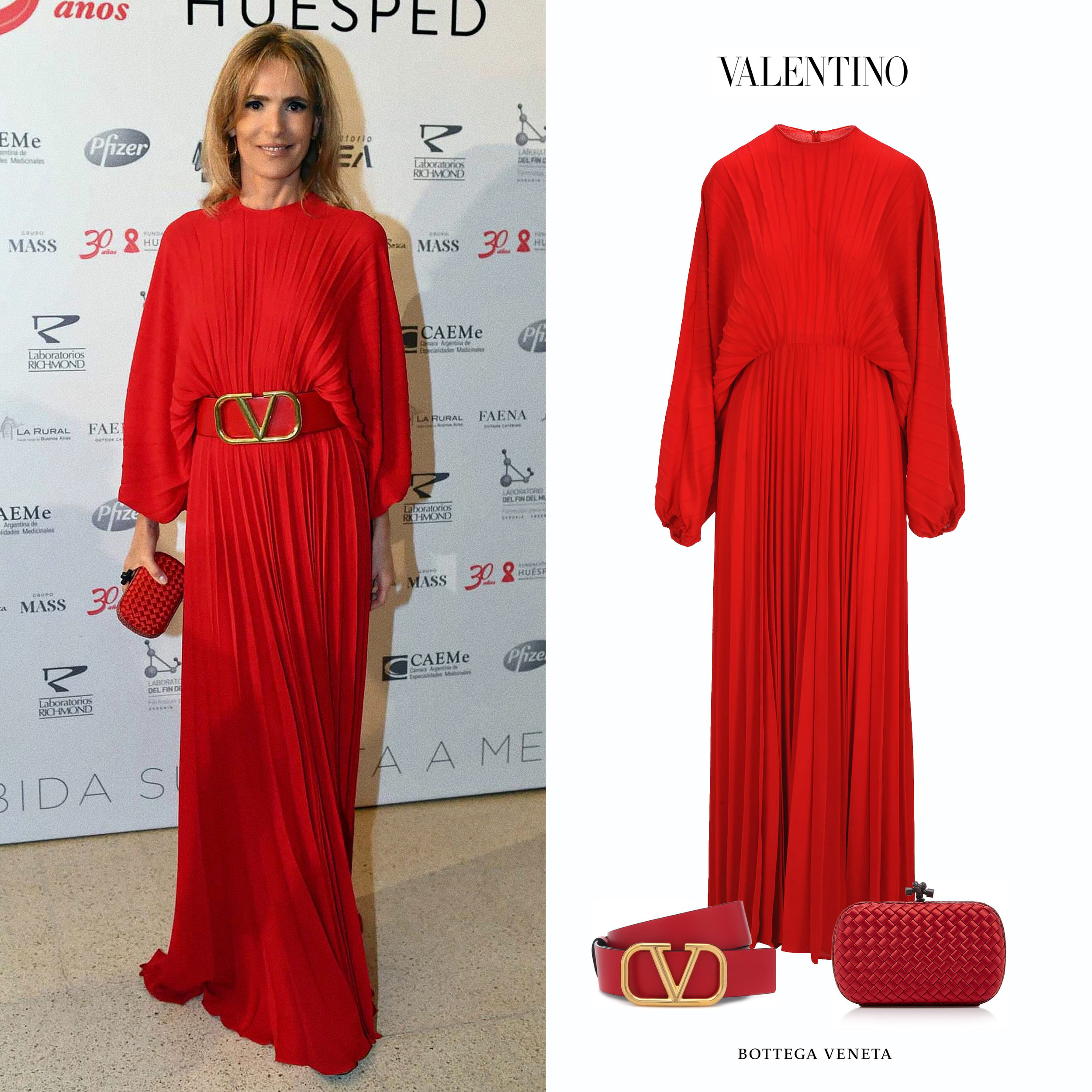 Rossella_Della_Giovampaola_Fundacion_Huesped_Vestido_Plisado_Long_Sleeve_Red_Plisse_Valentino_Dress_Logo_Belt_Cinturon_Clutch_Intrecciato_Knot_Red_Rojo.jpg
