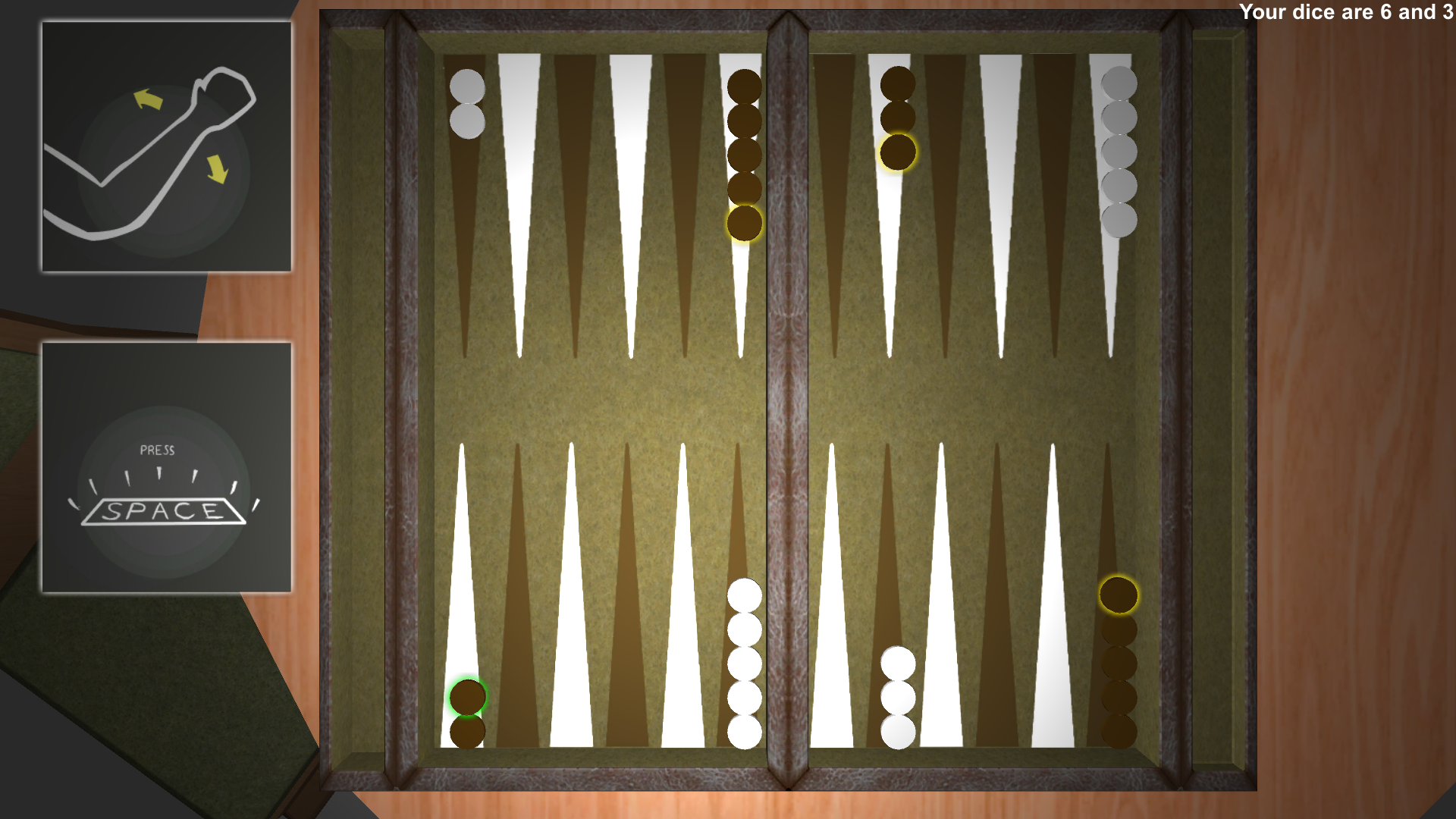 Backgammon, played with the MyoPro