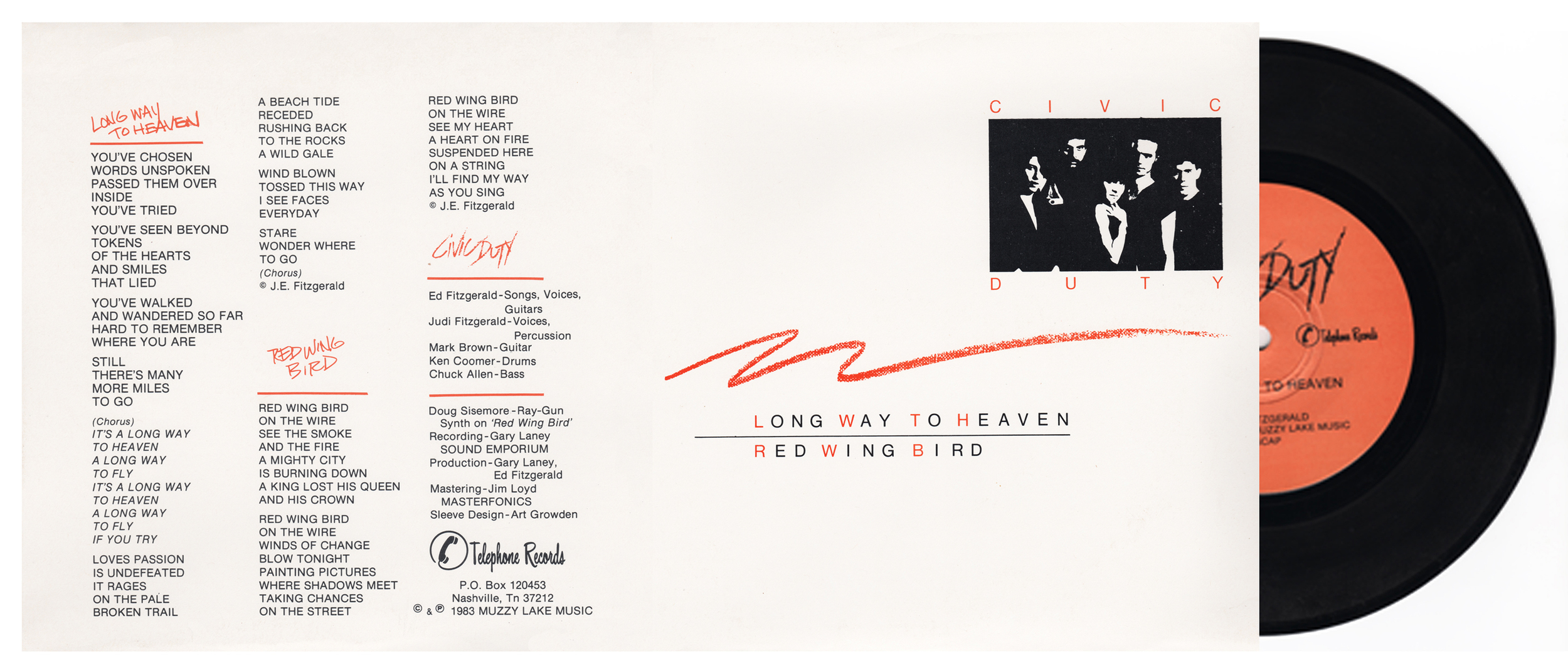 "2  Billboard Recommended  classic tracks:  Long Way To Heaven  b/w  Red Wing Bird   Recorded at  Sound Emporium  A.  Disc Mastering by  Masterfonics .  45 RPM vinyl by  United Record Pressing ..  Small spindle hole.  Virgin shrink-wrapped 8x8 heavy cardstock jacket.  Additional protective vinyl insert sleeve included.  Play it and play it again.   Very limited quantities.     Order Here:  Amazon     Buy the Civic Duty 45RPM and the Civic Duty 12""EP and get the complete SHELTER collection on Compact Disc - FREE ."