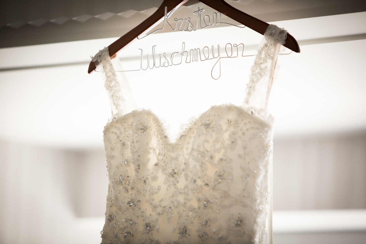 Wedding dress with custom name hanger