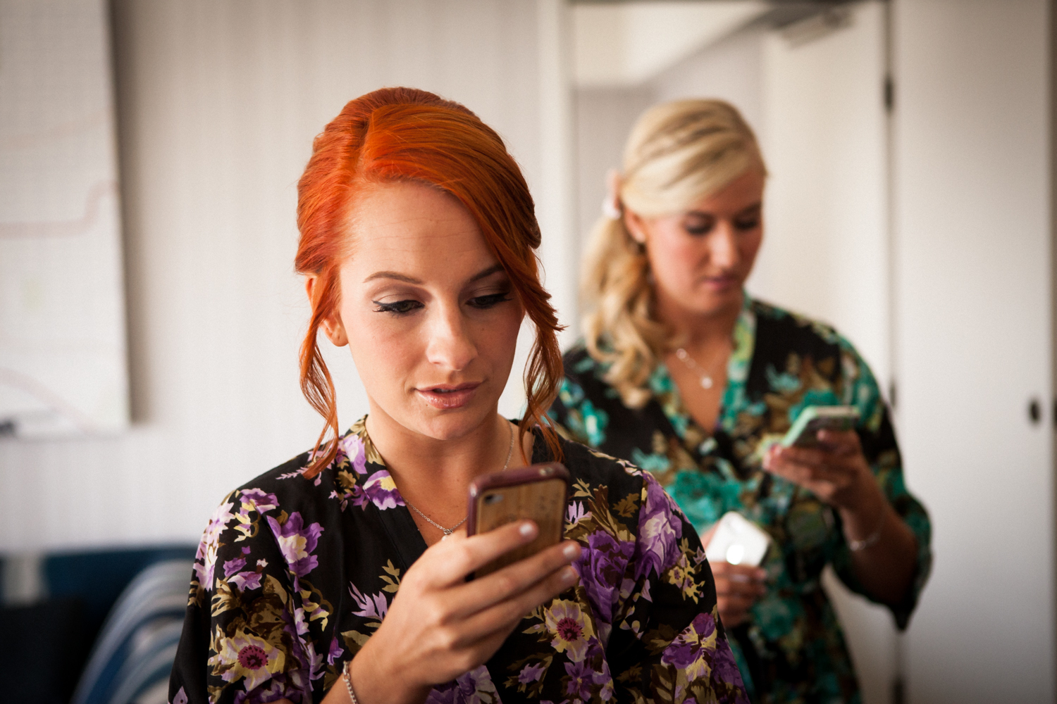 Bridesmaids on phones