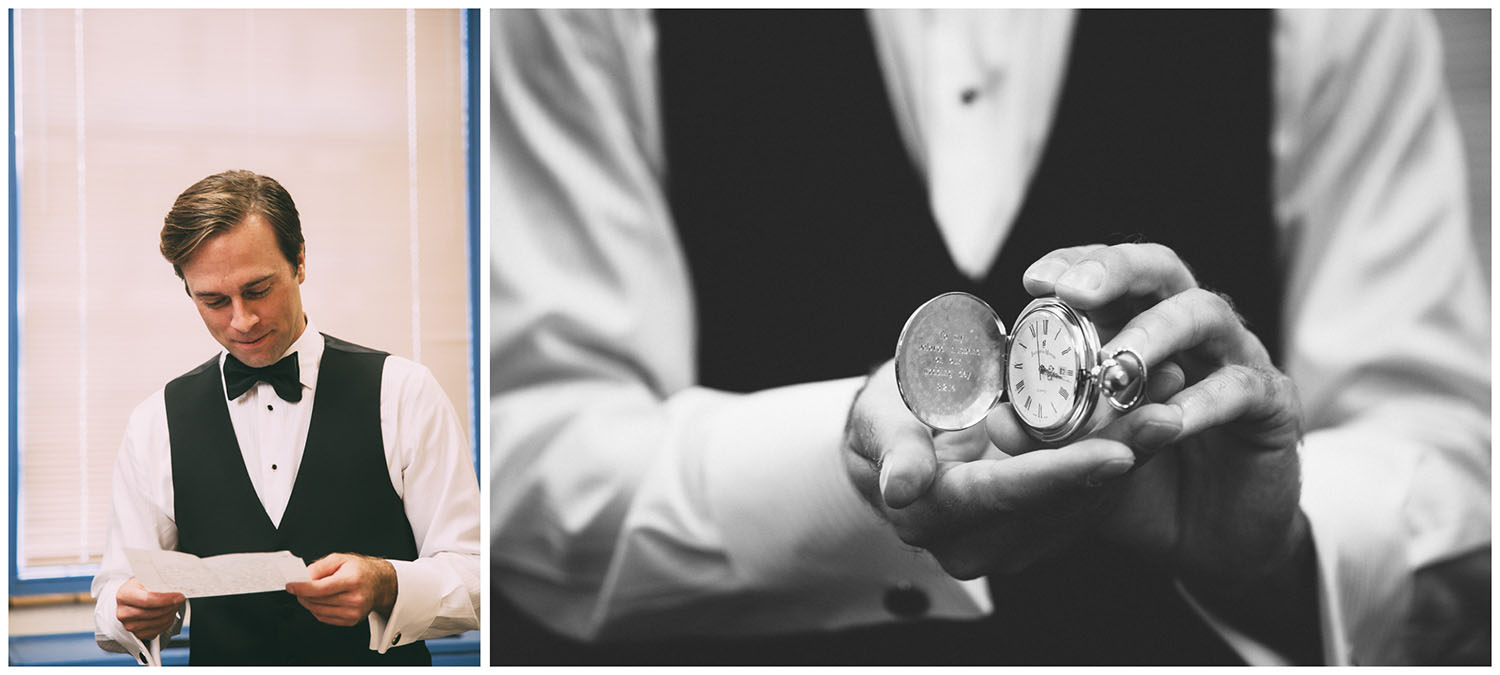 Groom reads letter and opens gift from bride