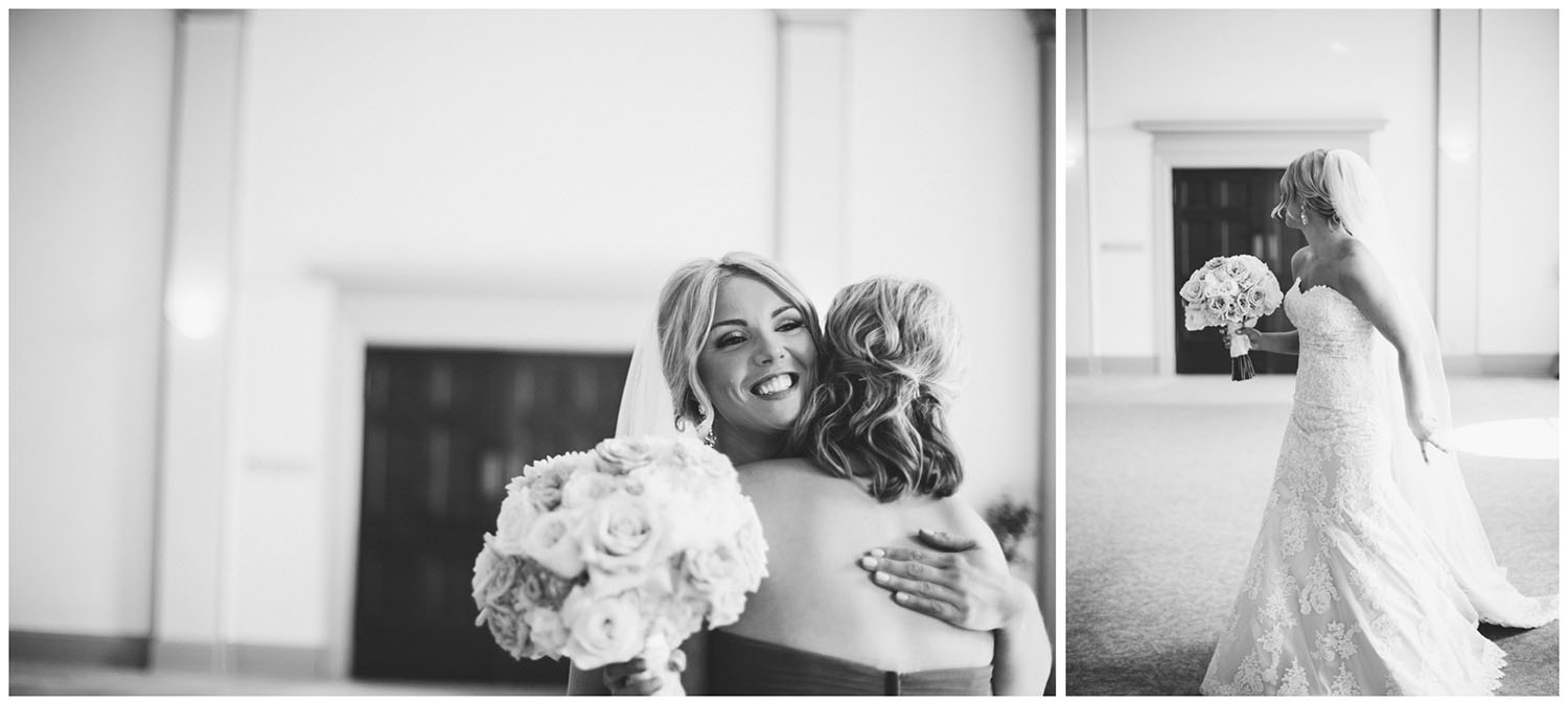 The bride hugs her sister and waits for her dad
