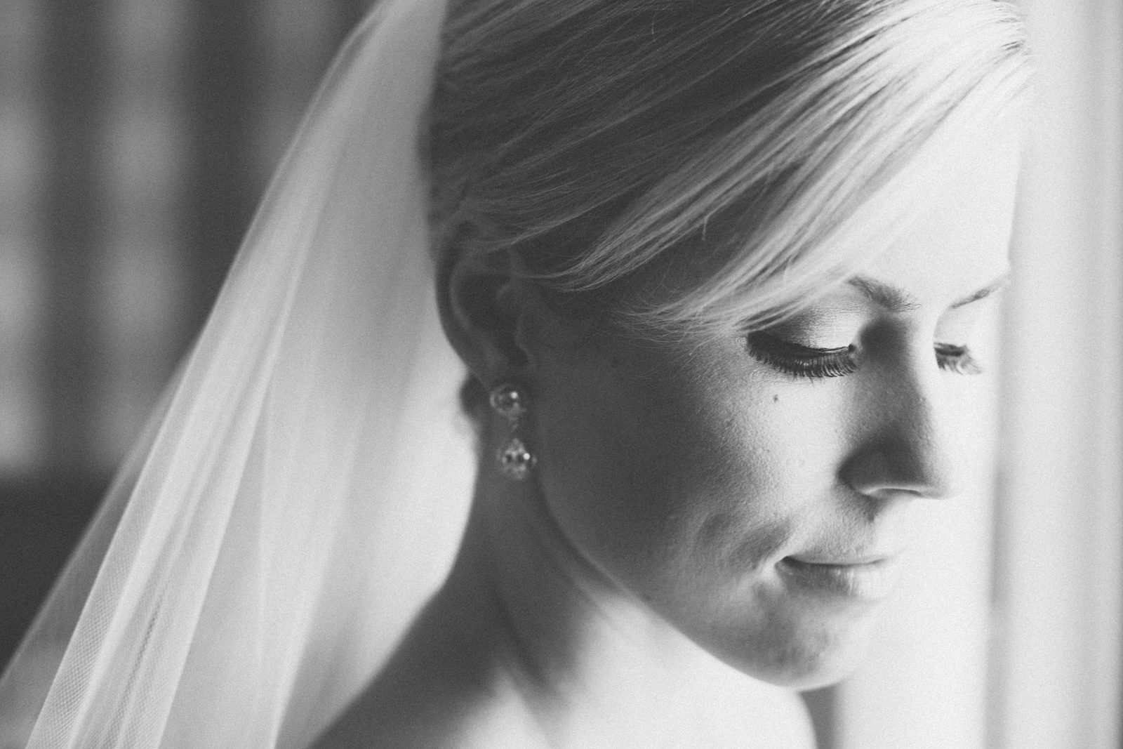 Window light bridal portrait