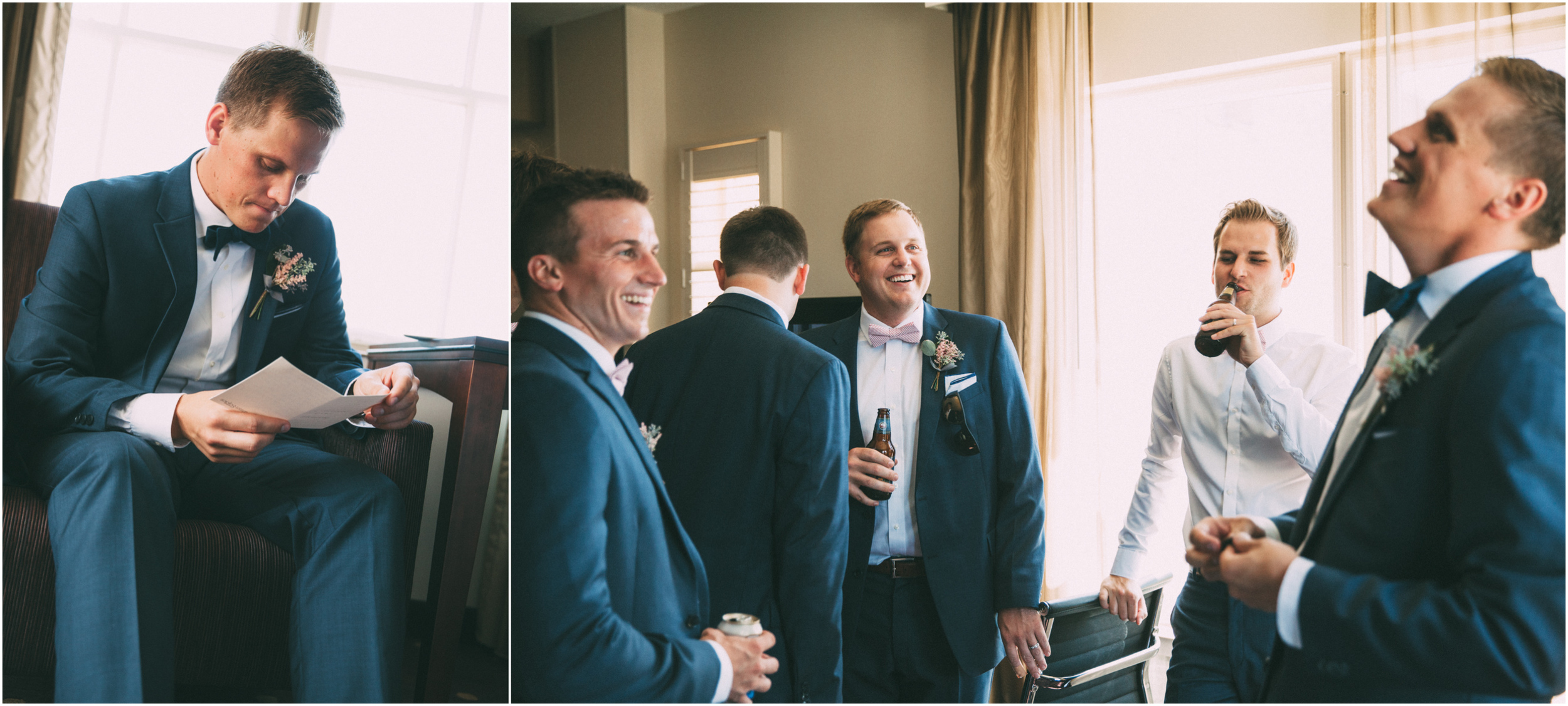 Groom opens gift from bride and hangs out with groomsmen
