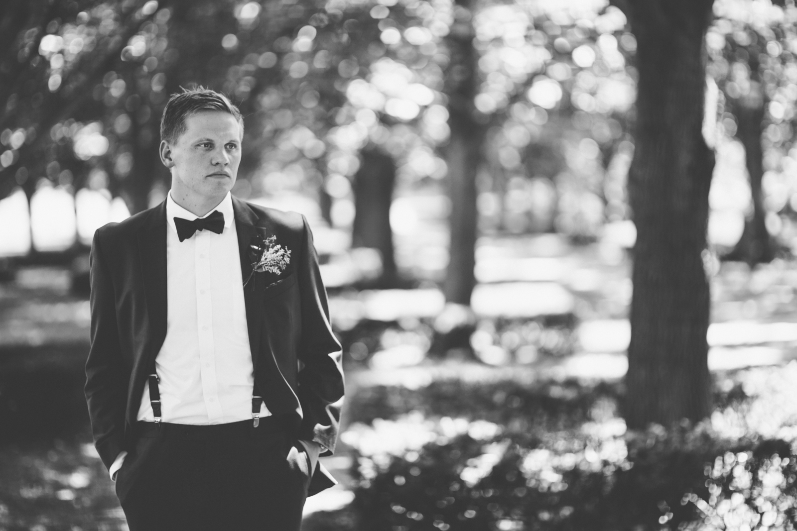 Groom waiting for his bride on their wedding day