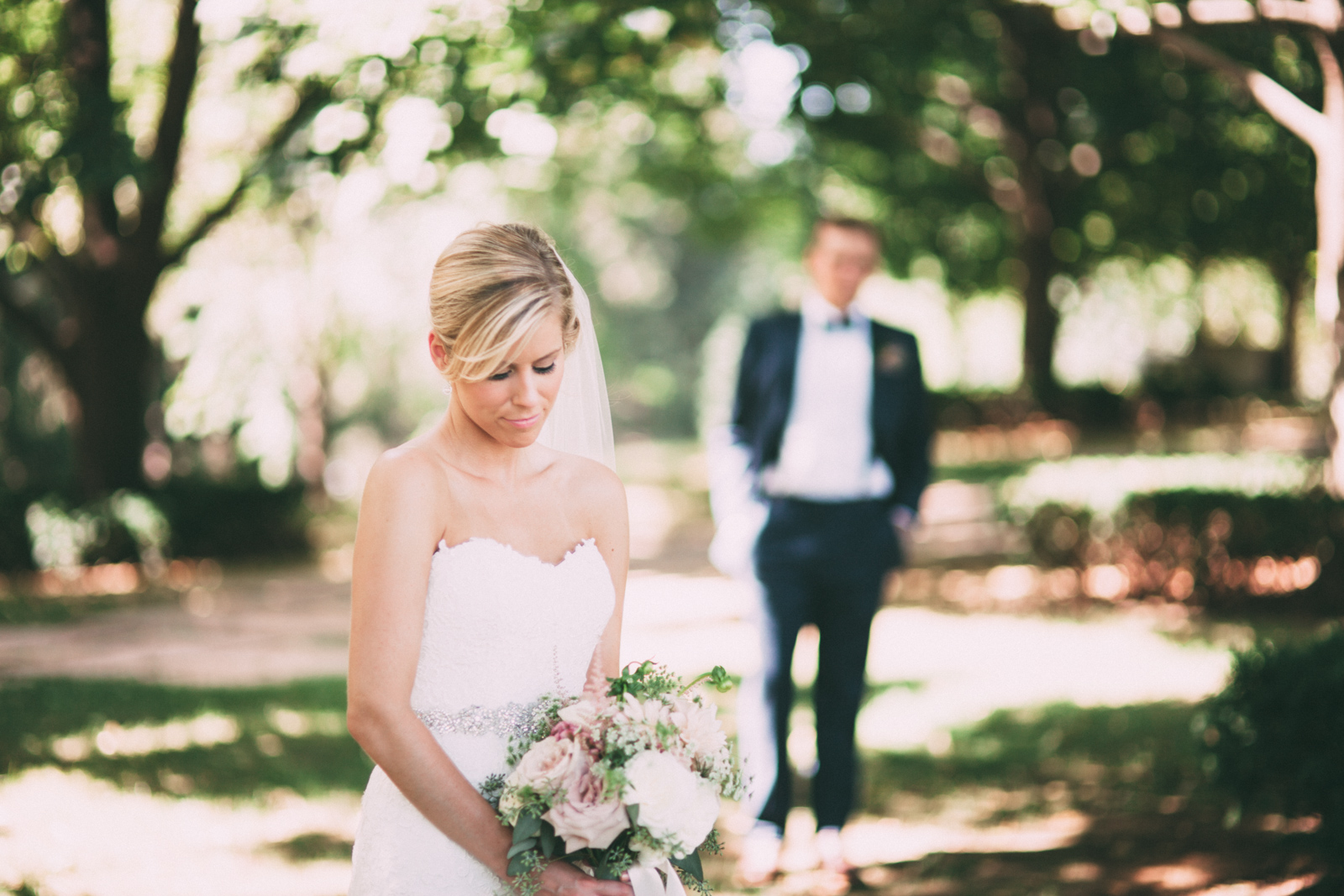 Bride and groom prepare for their wedding day