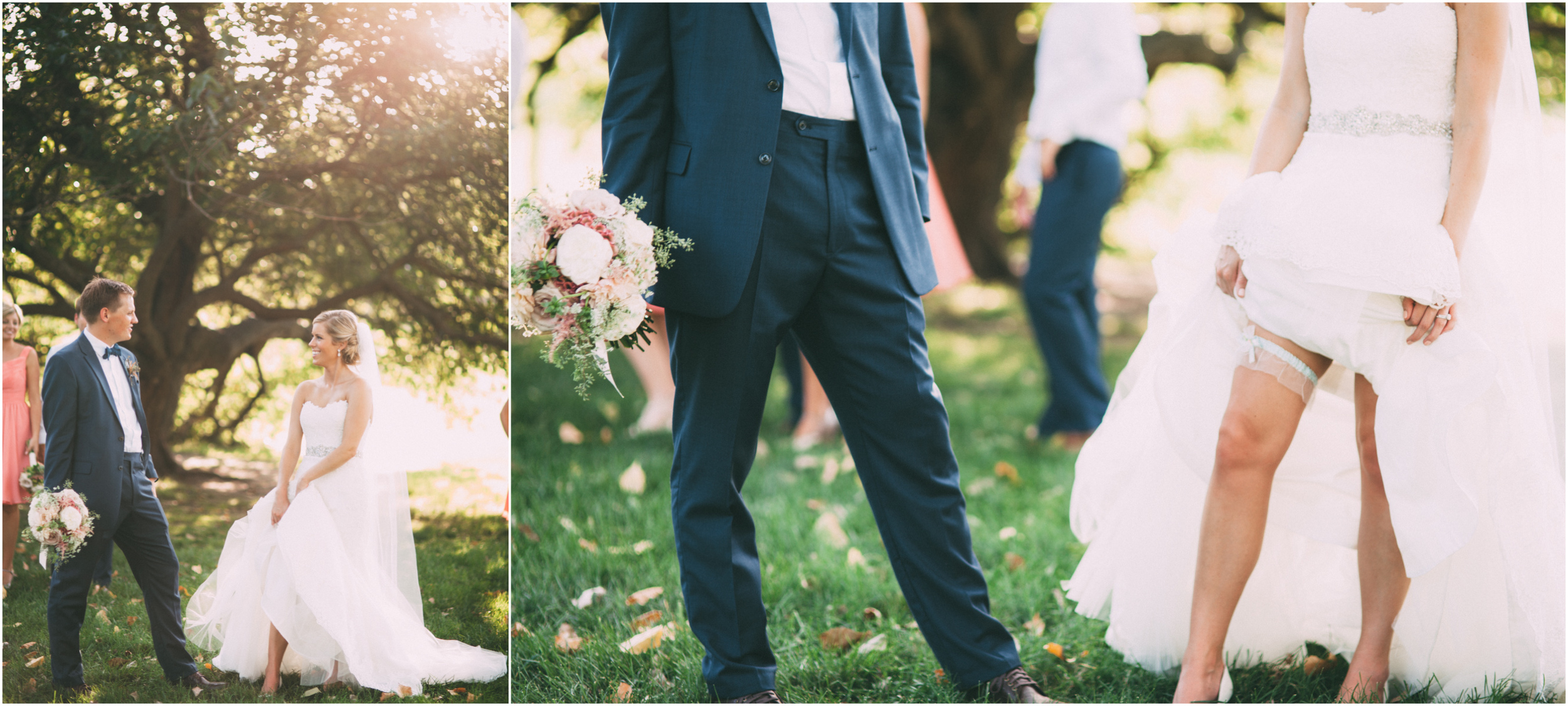 Bride shows groom her garter belt