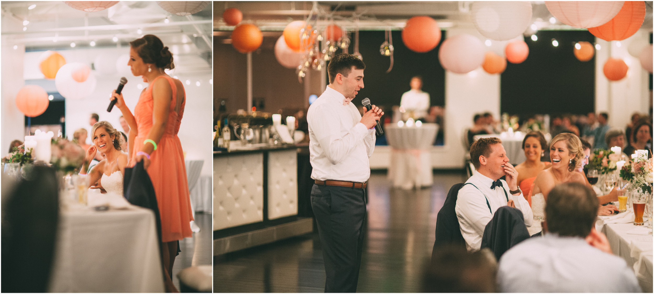 Best man and maid of honor toast the bride and groom at their wedding reception in Kansas City