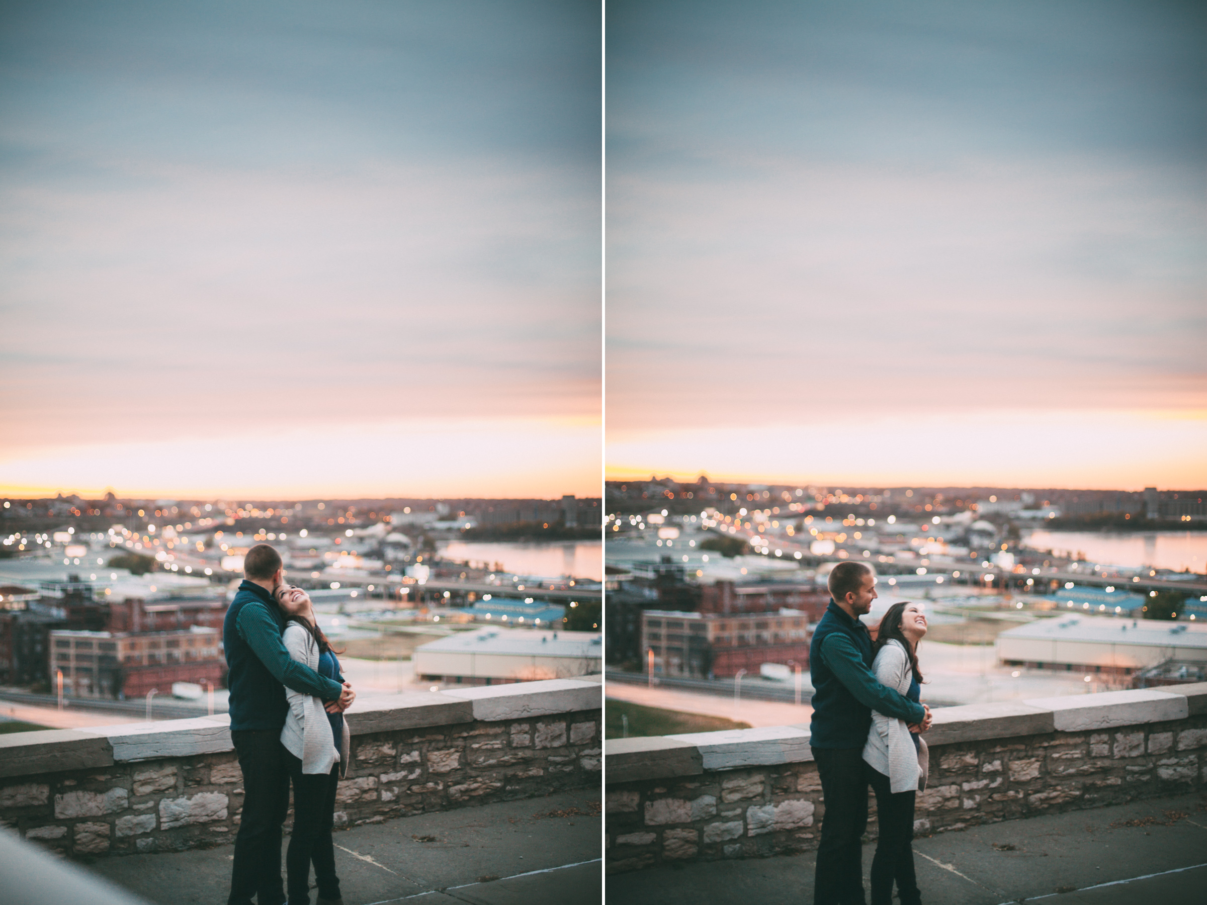 Engaged Couple Overlooking the West Bottoms in Kansas City