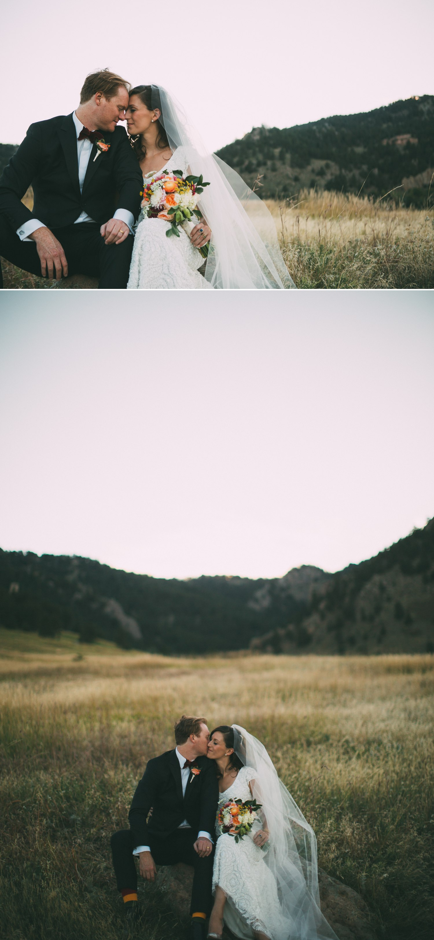 bride and groom in a meadow in the mountains boulder colorado 3