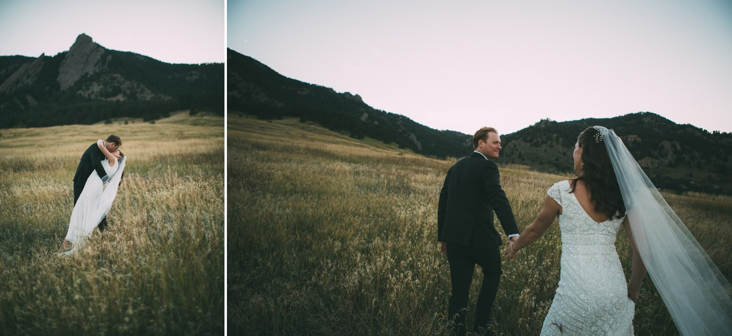 bride and groom in a meadow in the mountains boulder colorado 4