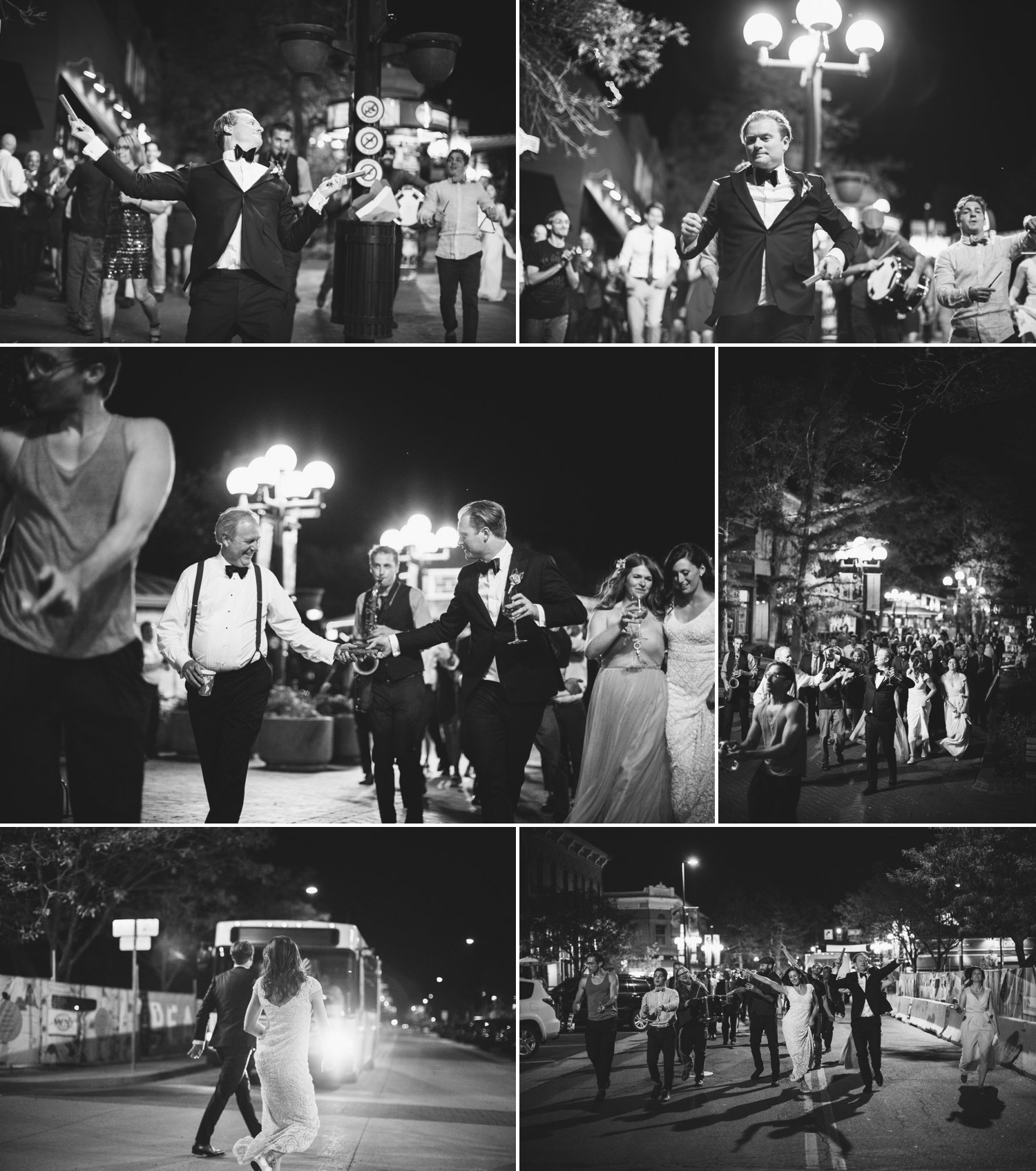 march down pearl street after wedding reception in boulder colorado
