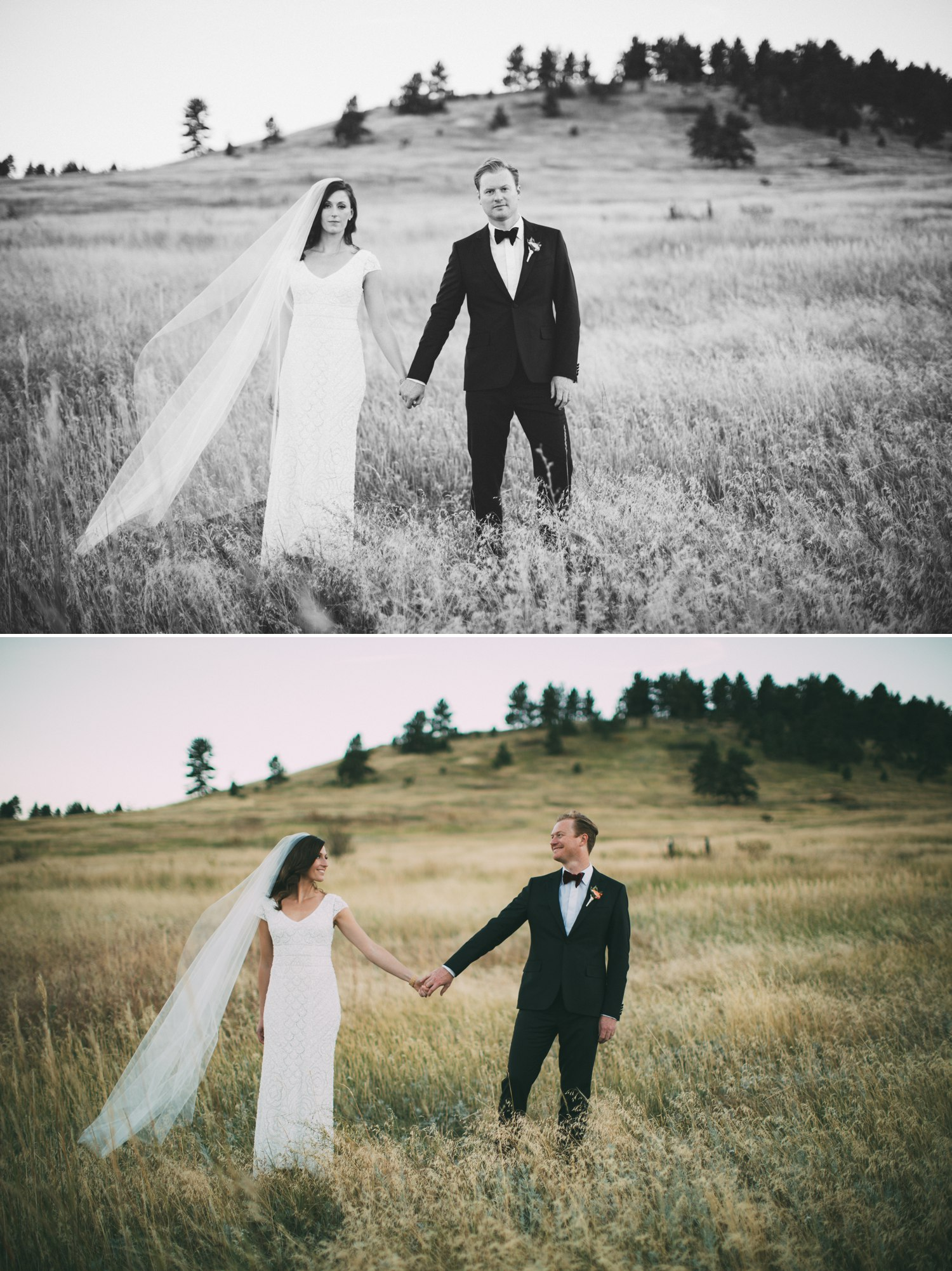 bride and groom holding hands in a meadow in the mountains