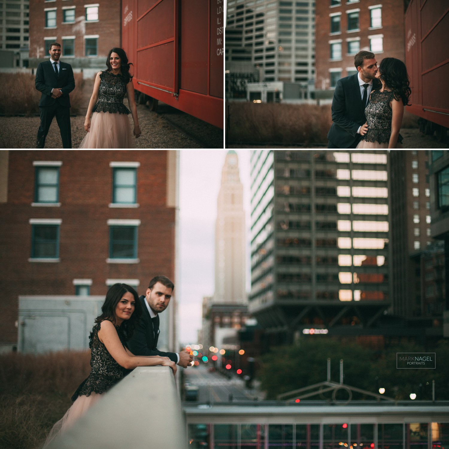 rooftop engagement session downtown kansas city