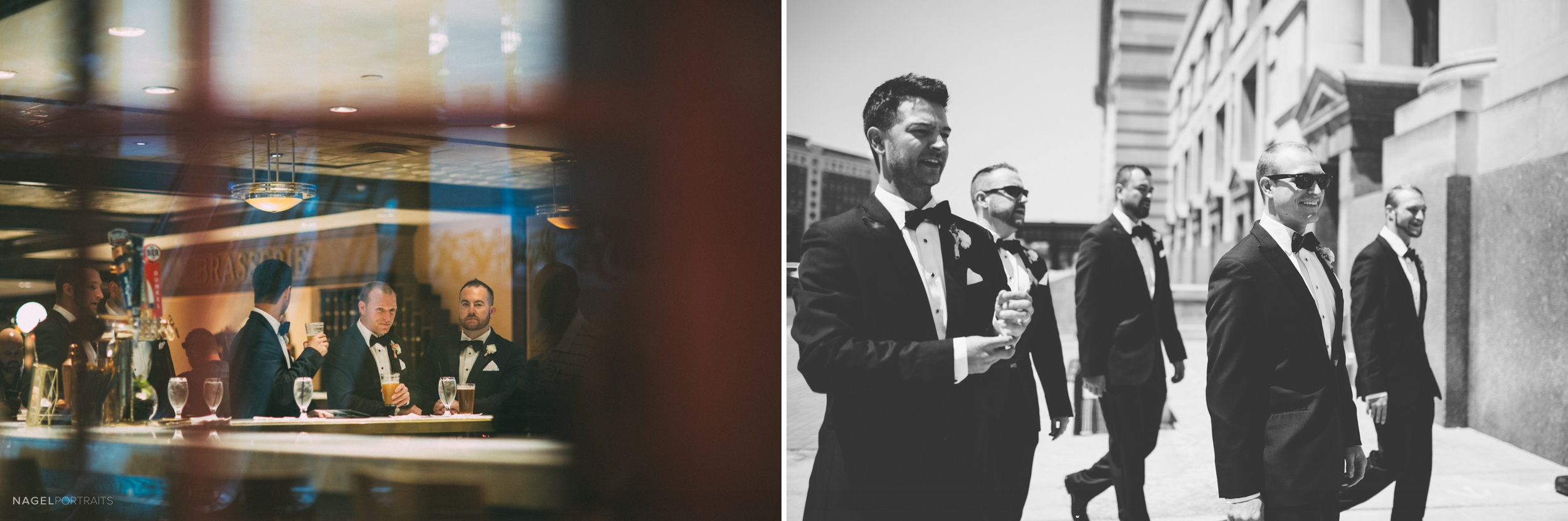 Groom has a drink with groomsmen on wedding day