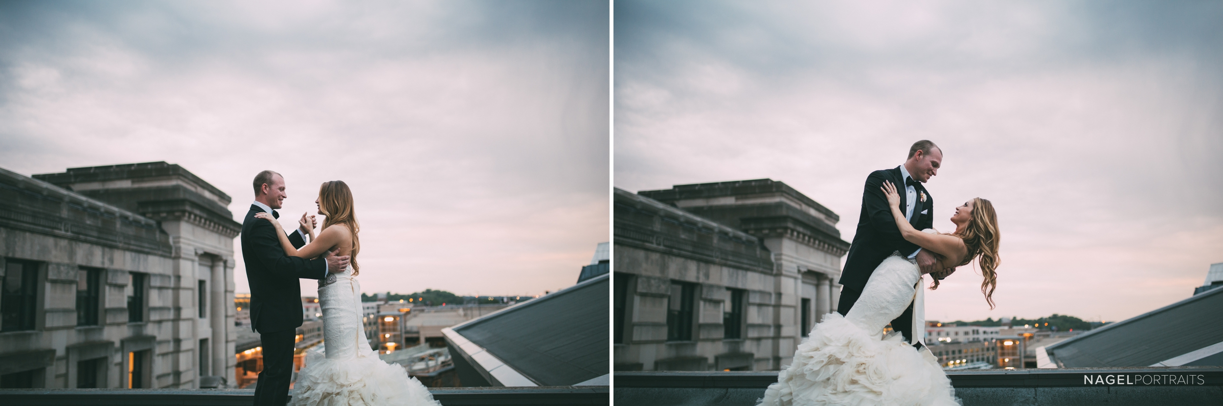 bride and groom dance on rooftop in the evening in kansas city on their wedding day