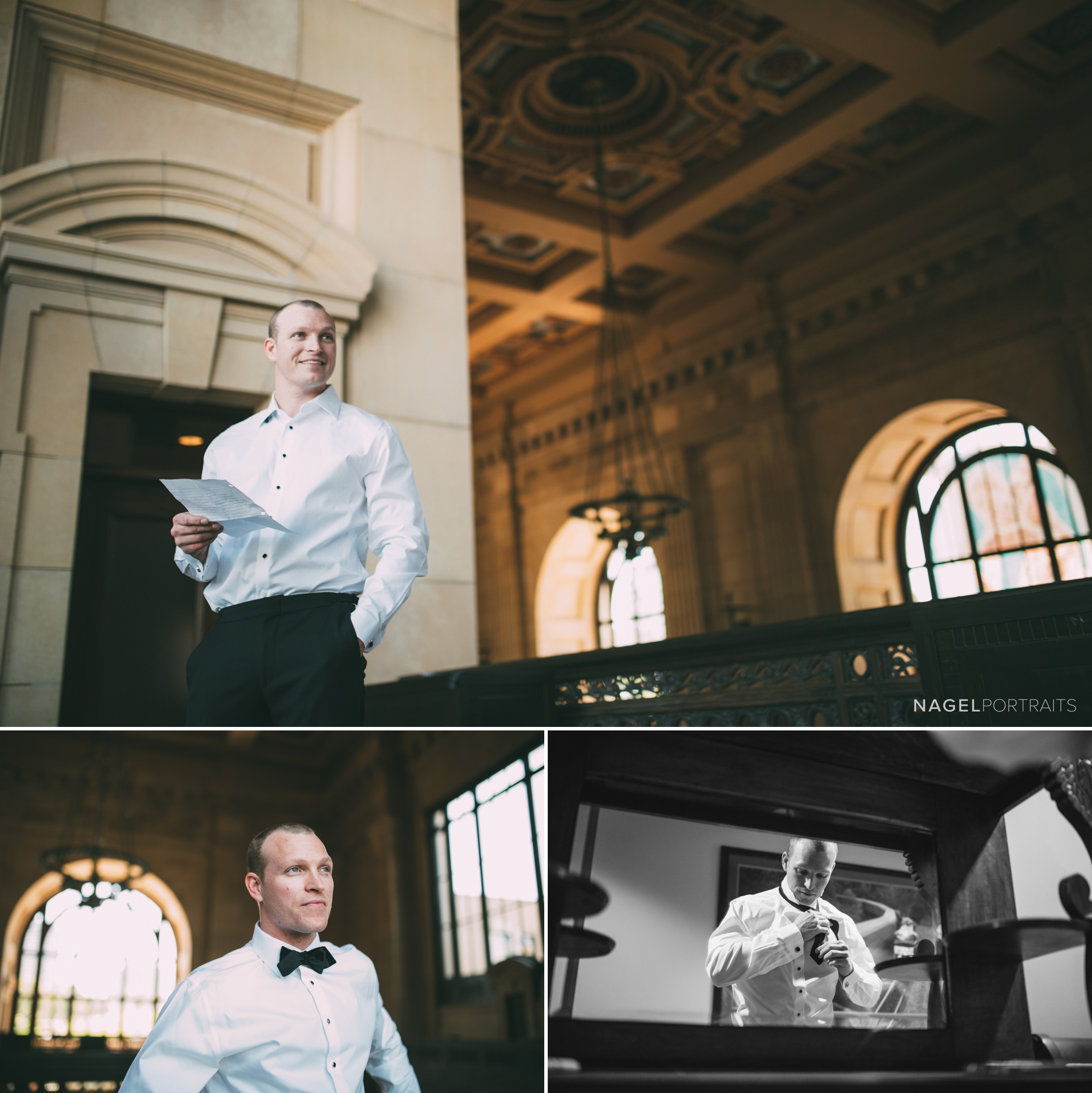 Groom reads a letter from bride on wedding day - classical architecture