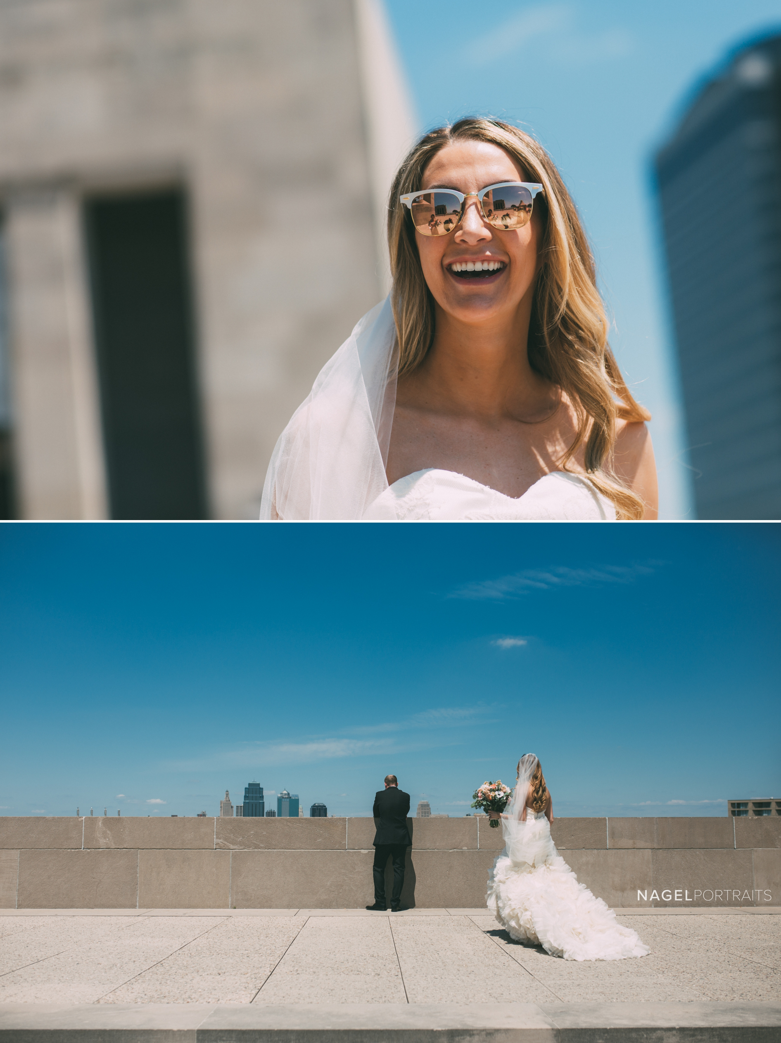 bride and groom first look at Liberty Memorial in Kansas City on wedding day