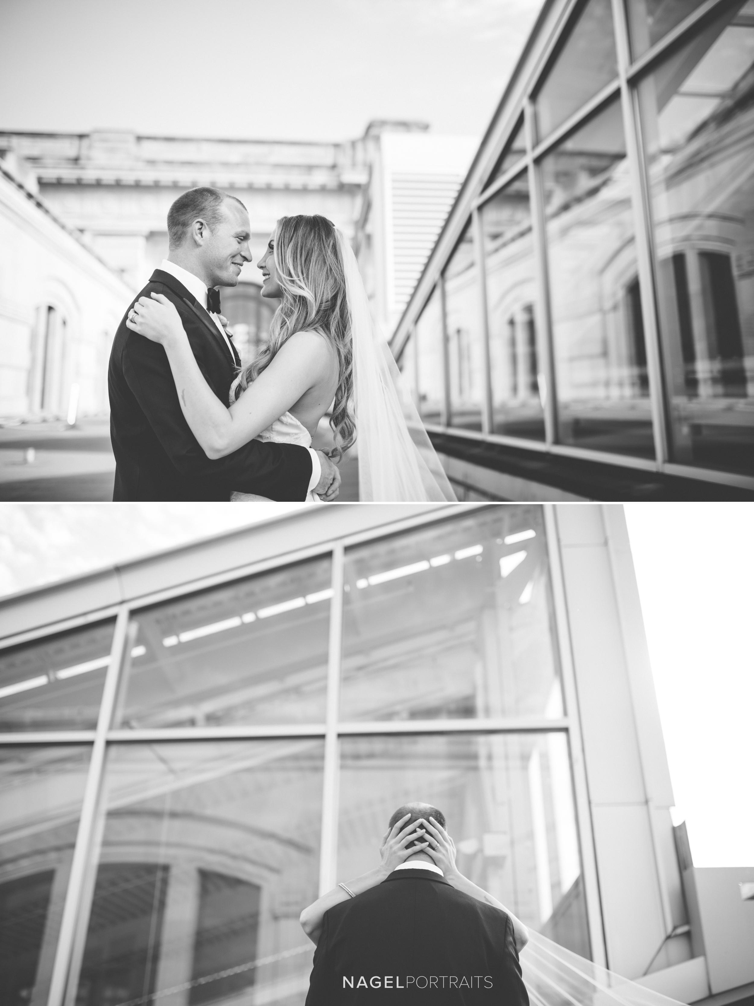 bride and groom portrait at union station kansas city