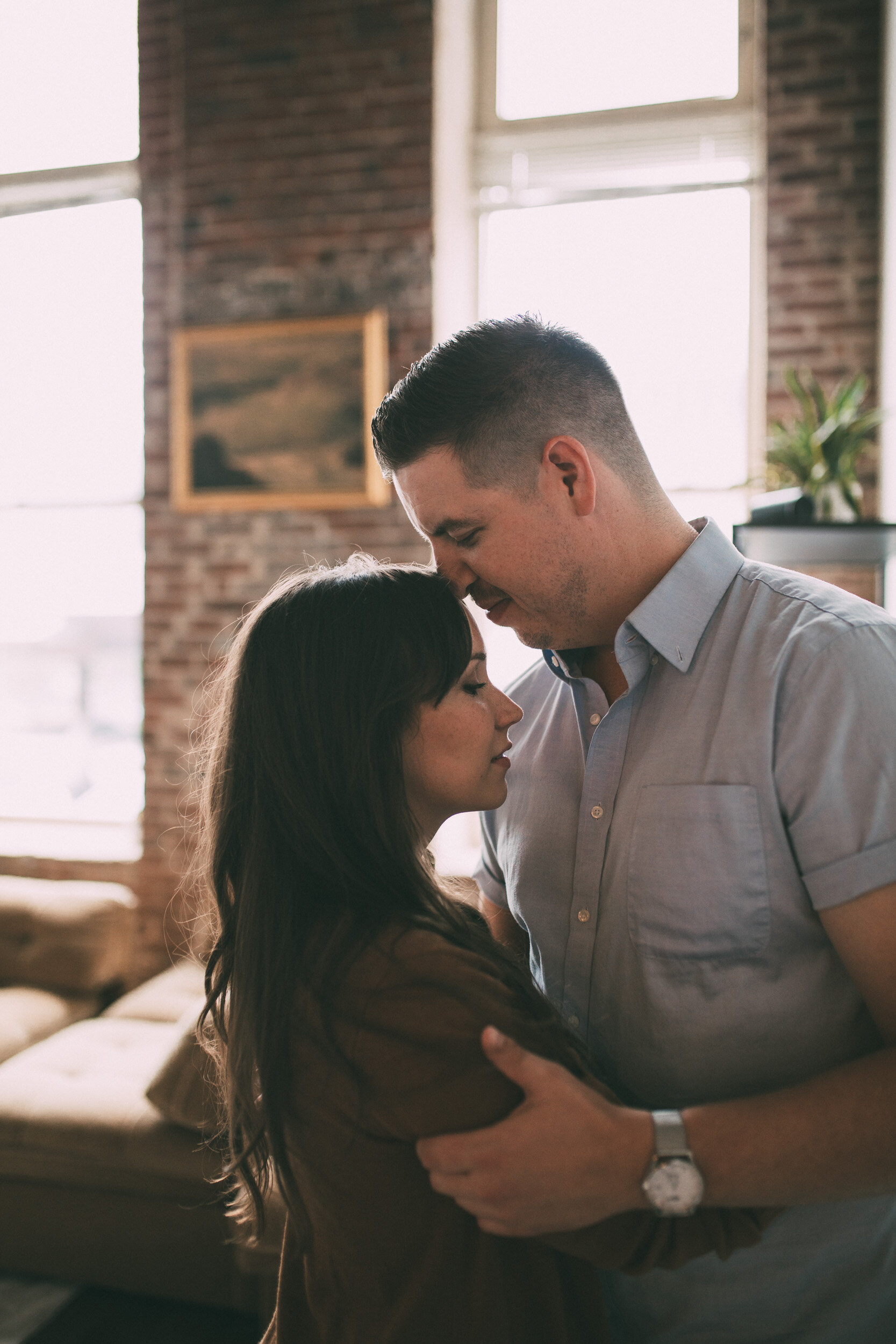 couple holding each other intimate engagement photo