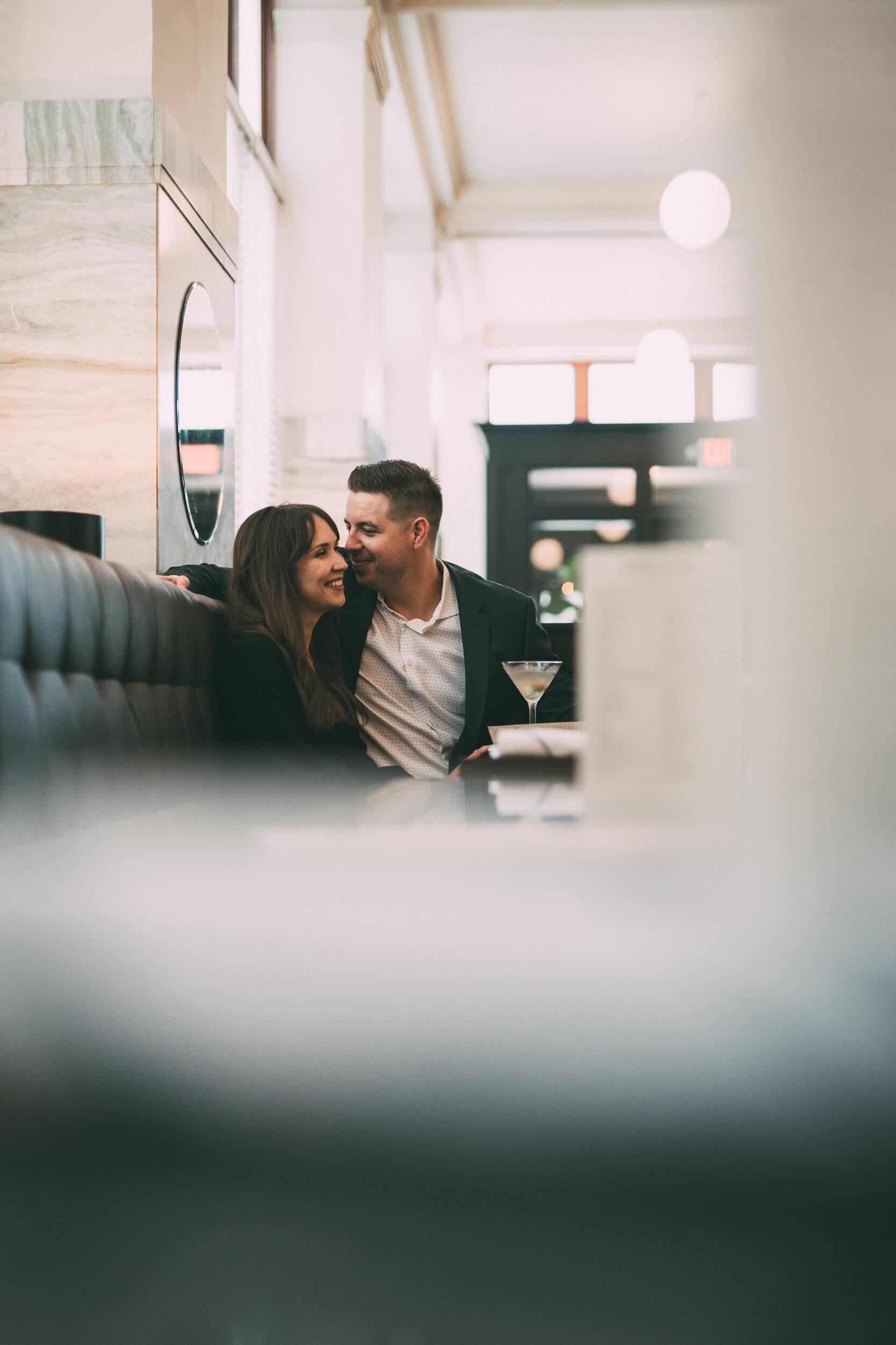 engagement session in restaurant bar