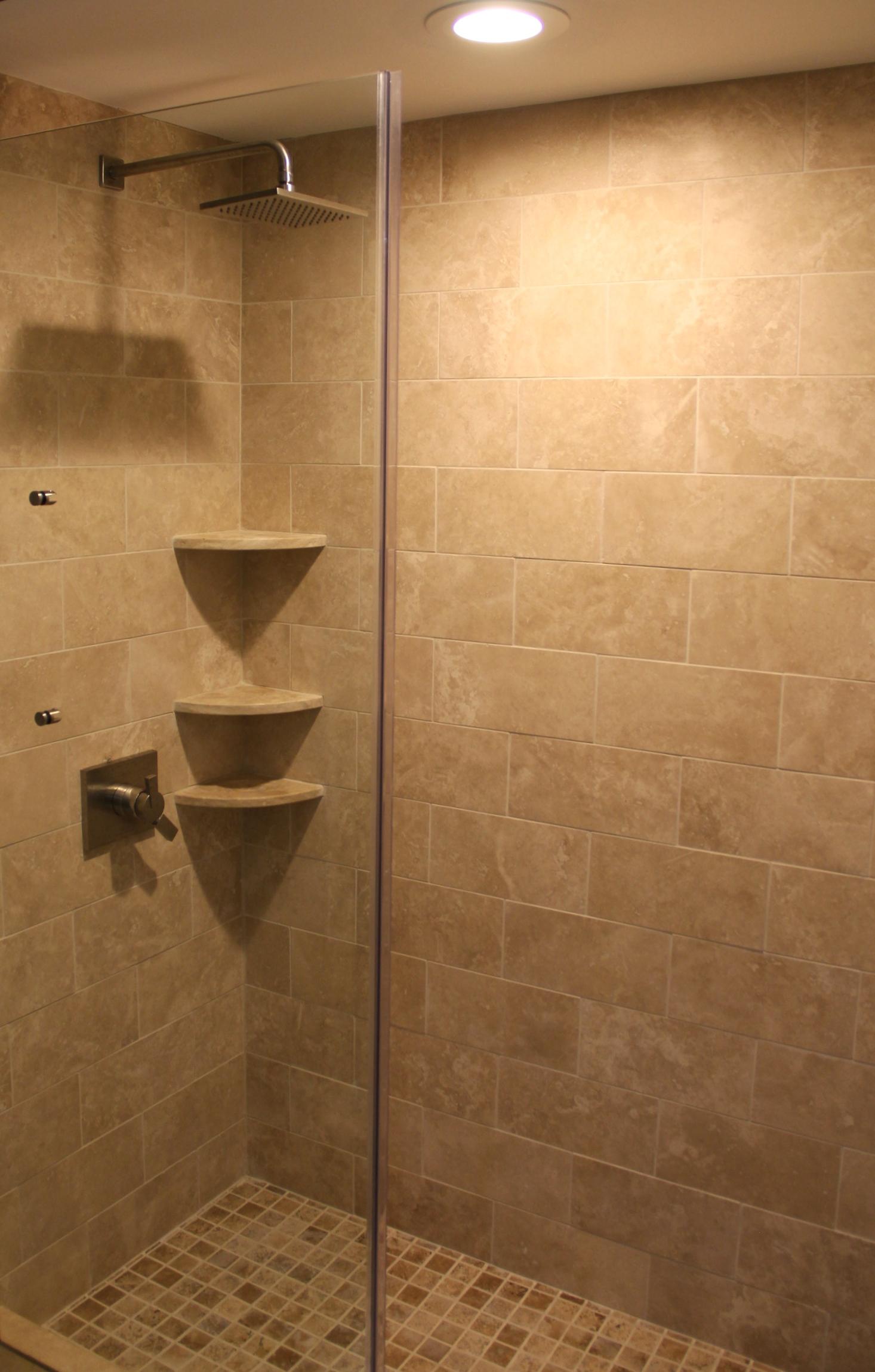 "Durango 6""x12"" Tile  Durango 8"" Bevel Shelves  Chocolat 2""x2"" (Shower floor)"