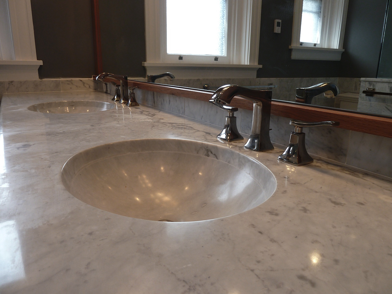 Custom Carrara Double Sink
