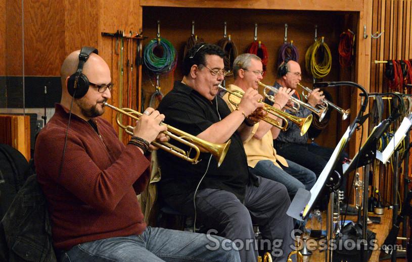 The trumpet section from   X-Men: Days of Future Past   L-R: Daniel Rosenboom, Rick Baptist (Principal), Jon Lewis, Jim Grinta Photograph by Dan Goldwasser -  www.scoringsessions.com