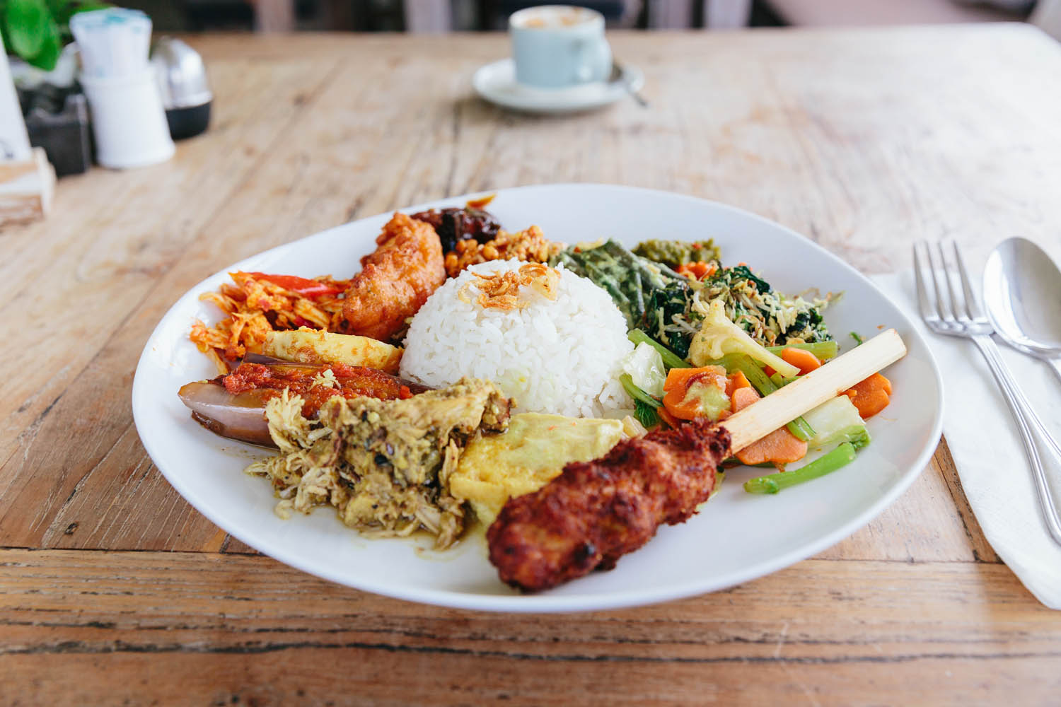 The local dish 'Nasi campur'