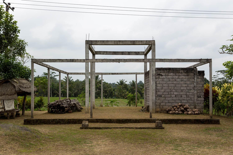 The skeletal frame of an unfinished building