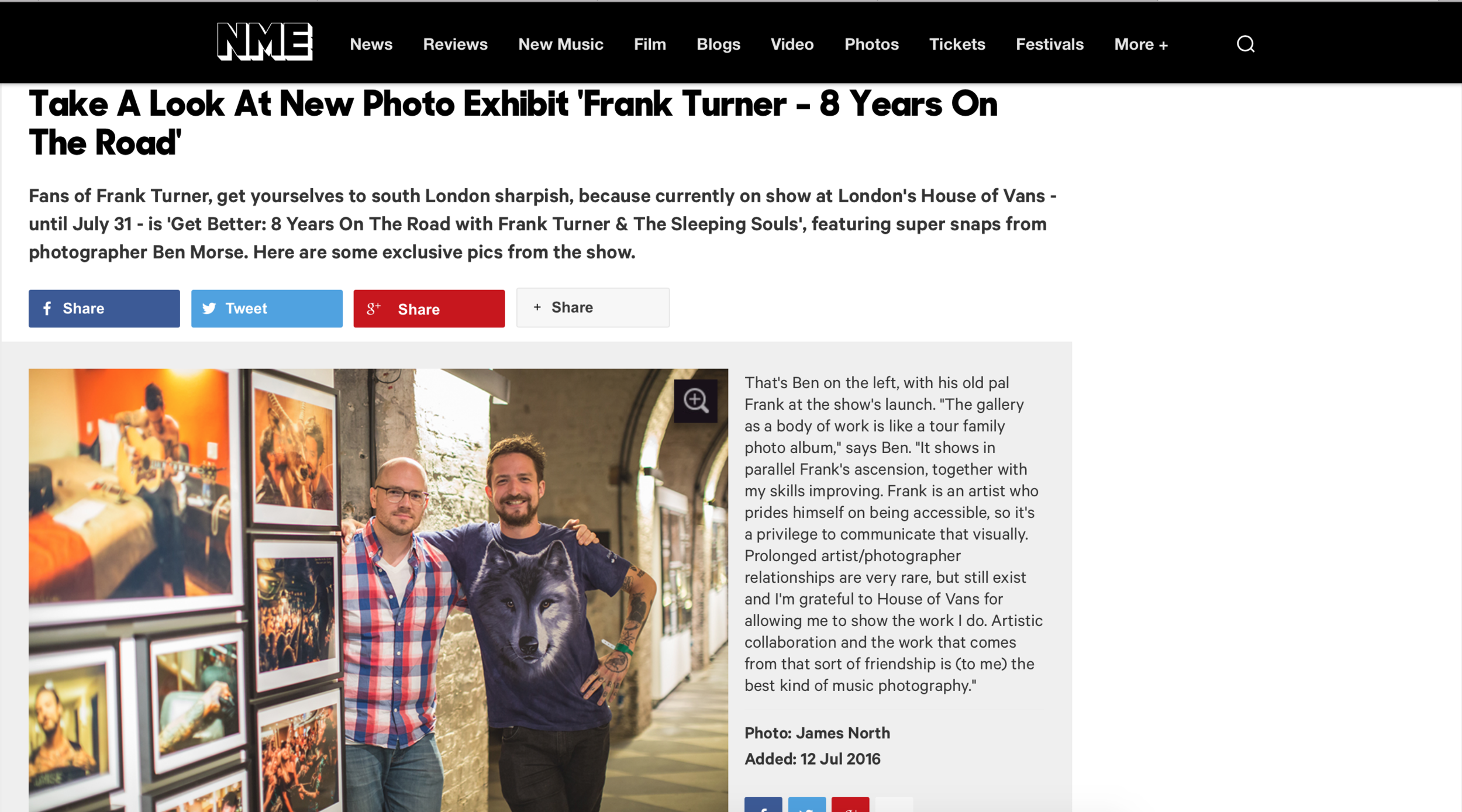 NME: House of Vans Gallery show, July 2016