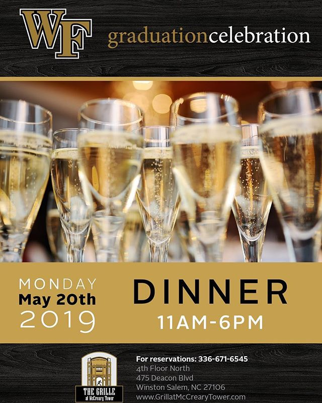 Come join us Monday, May 20th, for our annual 🎓Graduation Celebration🎉🎉🎉! #wfu / #wfu19 / #wfualumni / #deaconclub / #godeacs