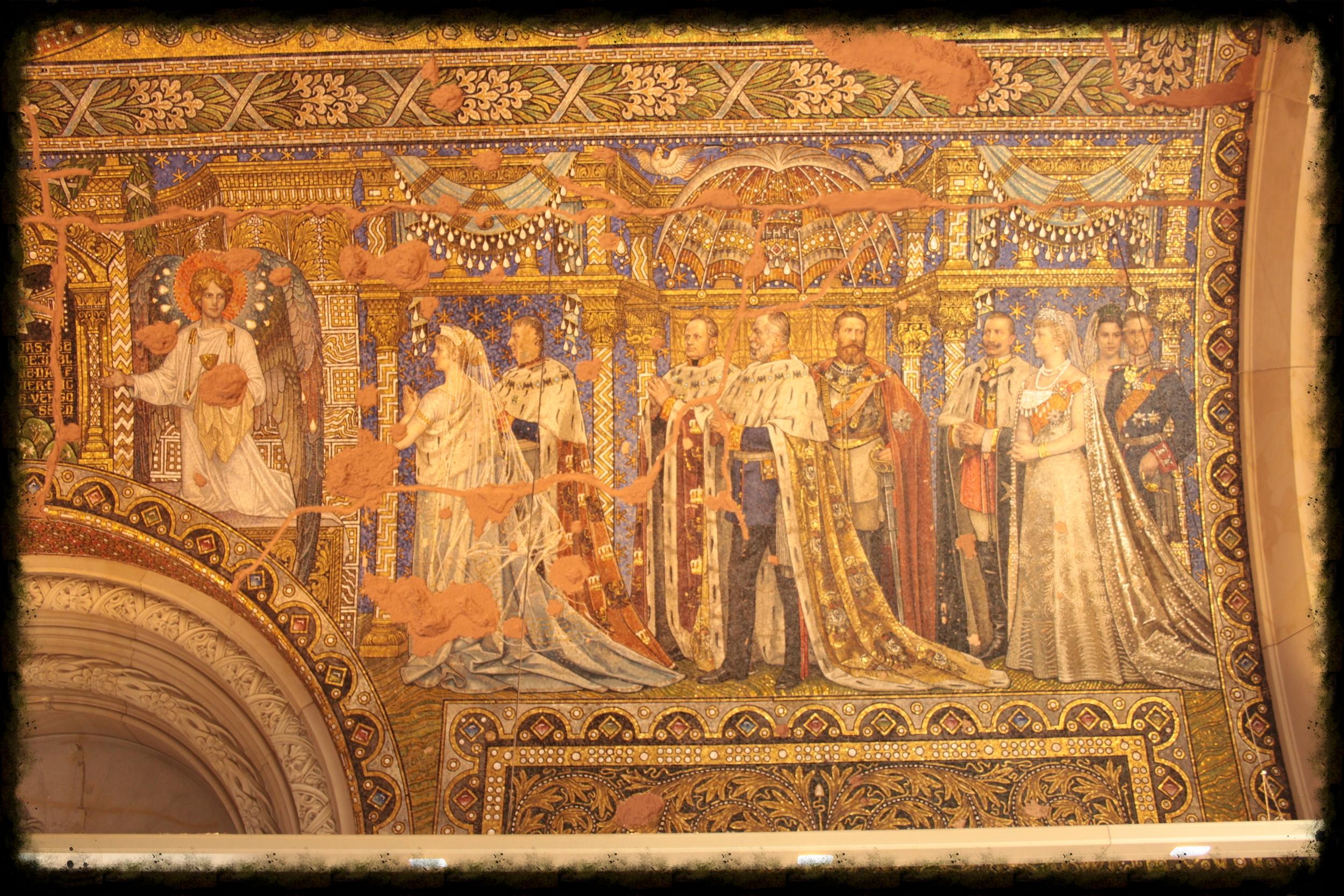 Artwork inside the 14th-century Wawel Cathedral, located inside Wawel Castle in Krakow, Poland.