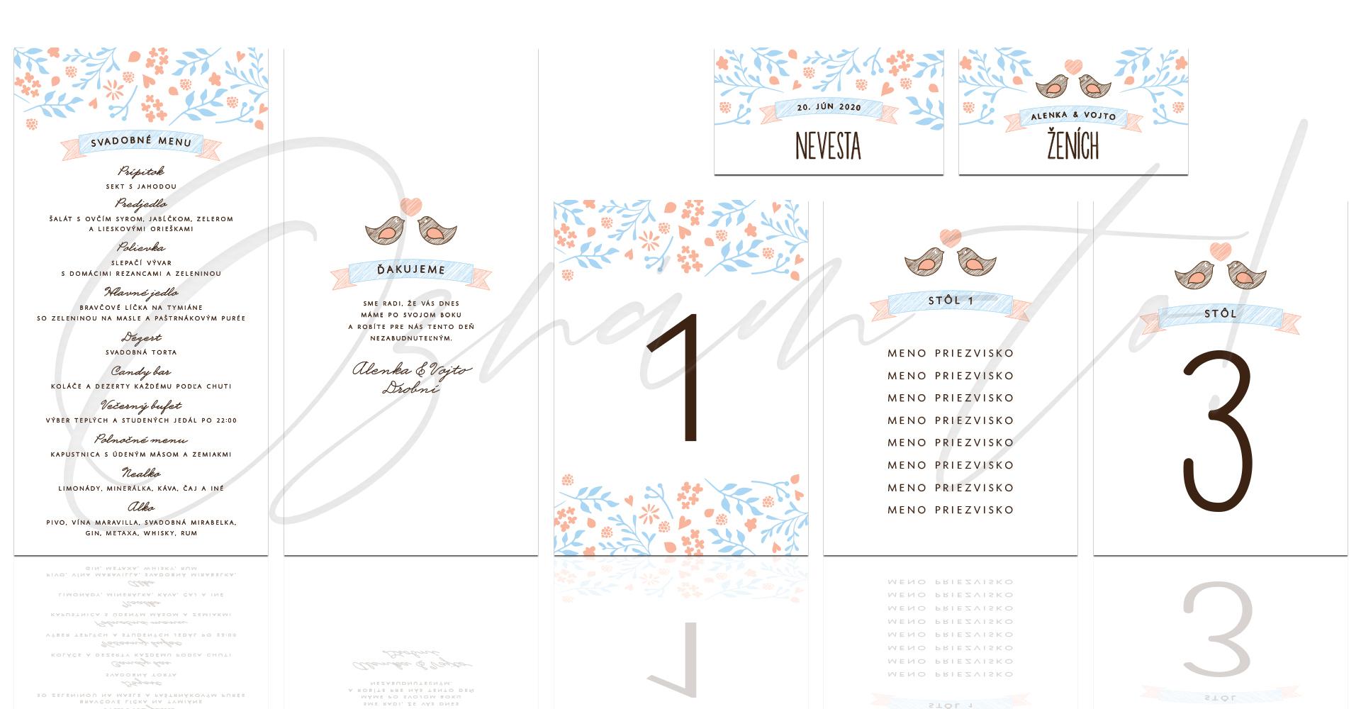 MENU  10 cm x 20 cm obojstranná verzia   ČÍSLOVANIE STOLOV  10 cm x 14 cm jednostranná verzia   ZASADACÍ PORIADOK karta  10 cm x 14 cm   MENOVKA  9 cm x 5 cm jednostranná verzia