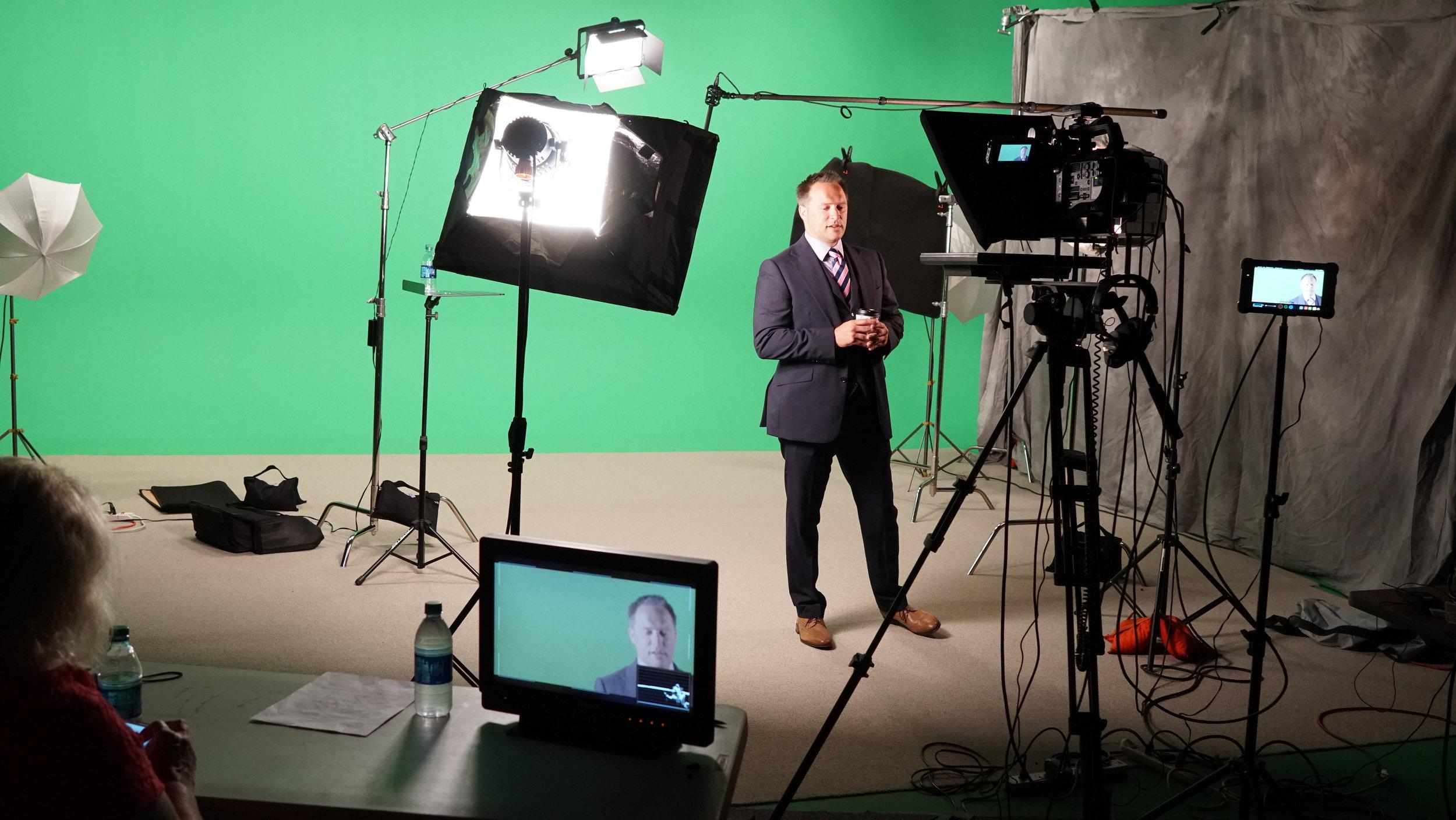 In studio filming with a representative of Concordia Seminary