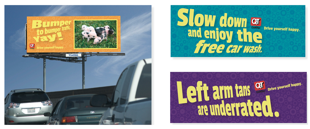 A digital billboard displays headlines corresponding to the current time, weather, and traffic conditions. Who wouldn't smile at baby pot belly pigs during traffic?