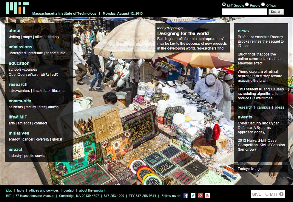 Designing for MicroEntrepreneurship by Jesse Austin-Breneman and Maria Yang featured on MIT homepage, August 2013.