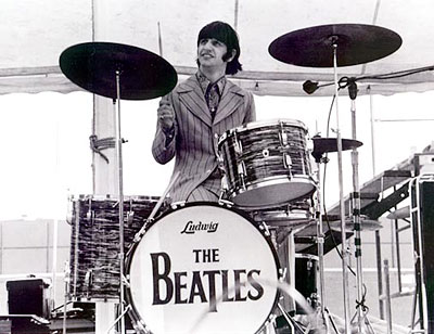 Ringo Starr playing a set of Black Pearl Ludwigs