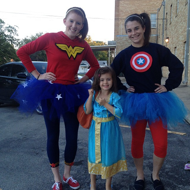 Karlee: a few years later, with her superhero friends.