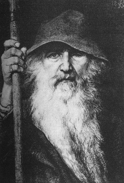 Odin the Wanderer  (1896) by Georg von Rosen (Wikipedia)